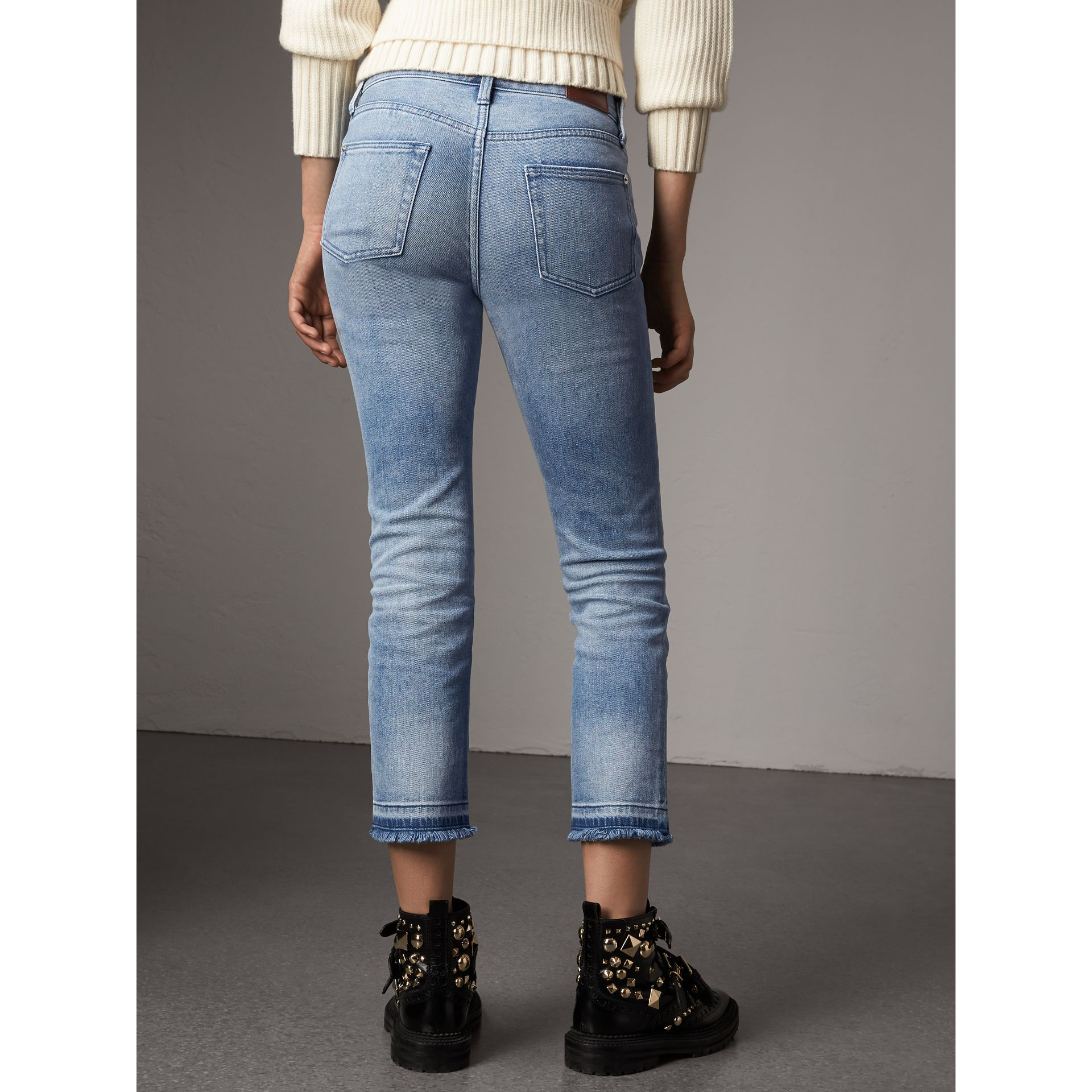 Slim Fit Frayed Cropped Jeans in Pale Blue - Women | Burberry - gallery image 2