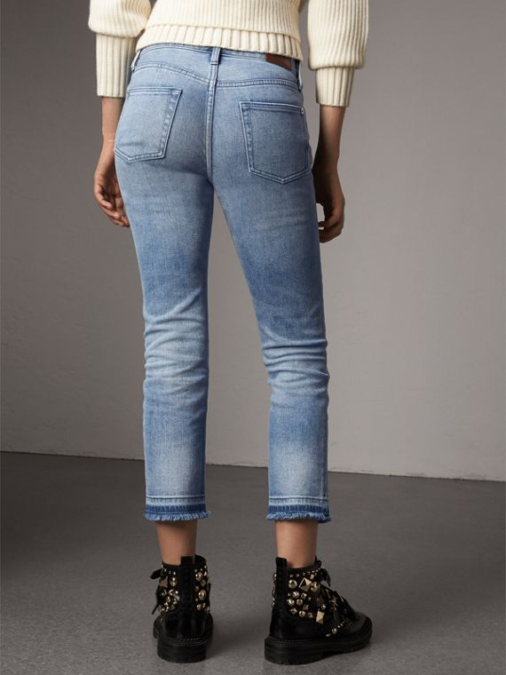 Slim Fit Frayed Cropped Jeans in Pale Blue - Women | Burberry Singapore - cell image 2
