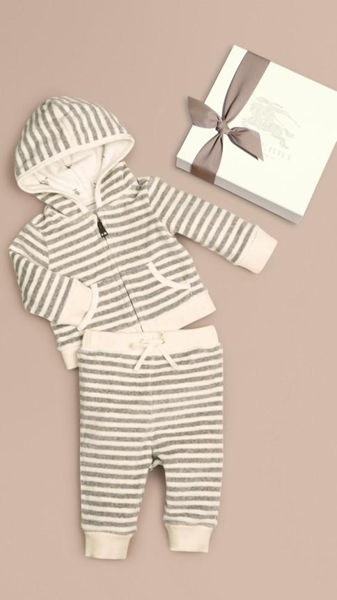 Grey melange/natural white Velour Stripe Two-Piece Set - Image 1