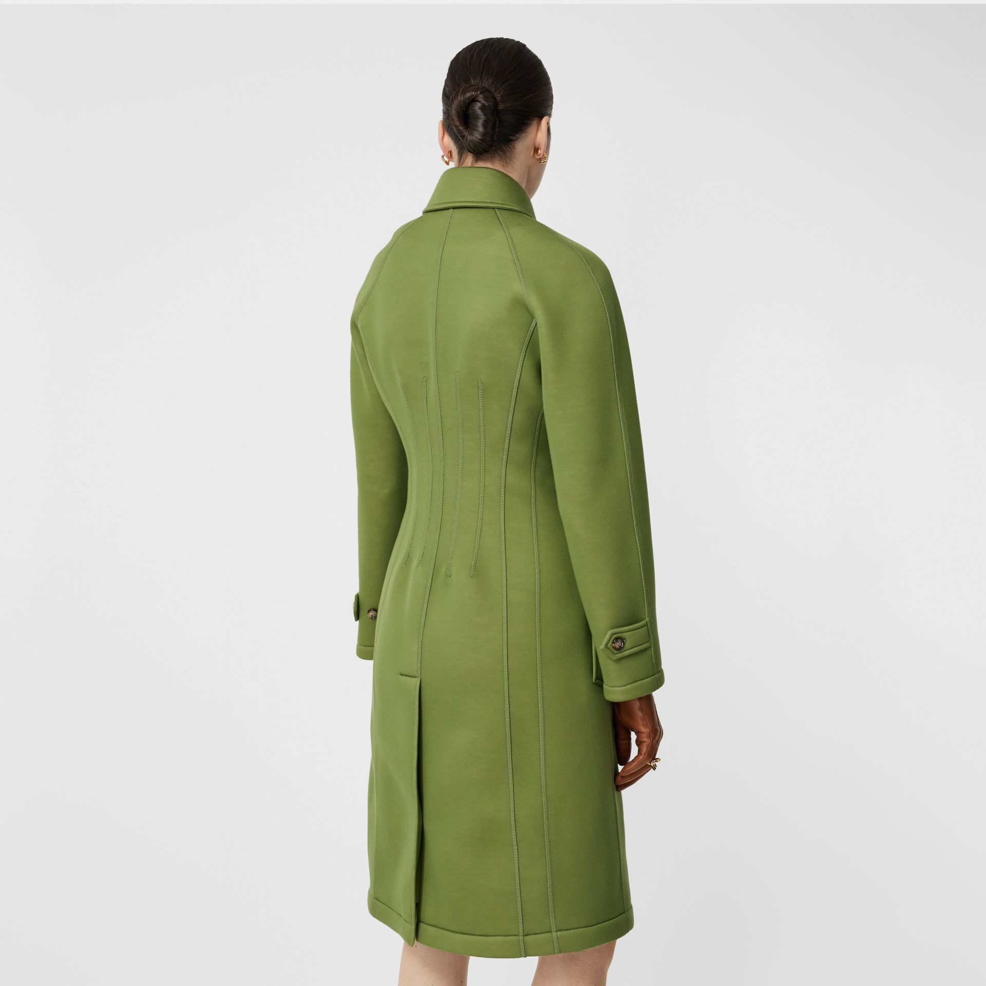 Bonded Neoprene Tailored Car Coat in Cedar Green - Women | Burberry - gallery image 2