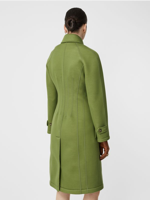 Bonded Neoprene Tailored Car Coat in Cedar Green - Women | Burberry - cell image 2