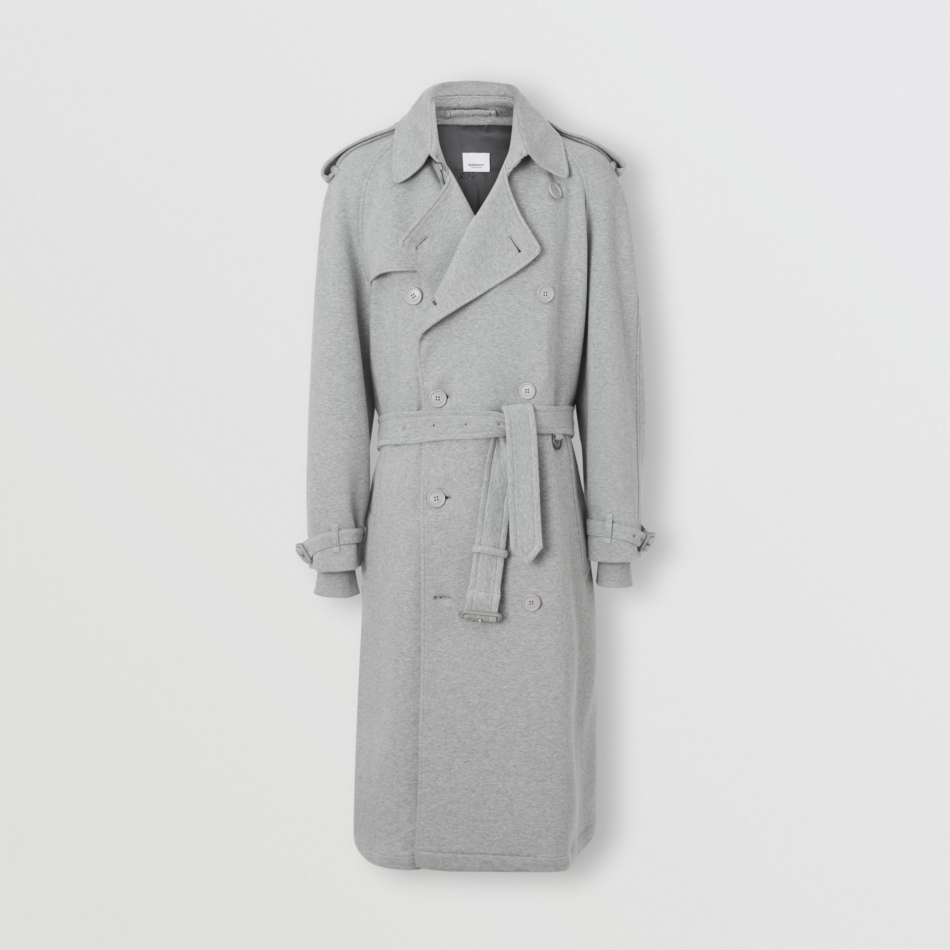 Cotton Jersey Trench Coat in Pale Grey Melange - Men | Burberry Australia - gallery image 3