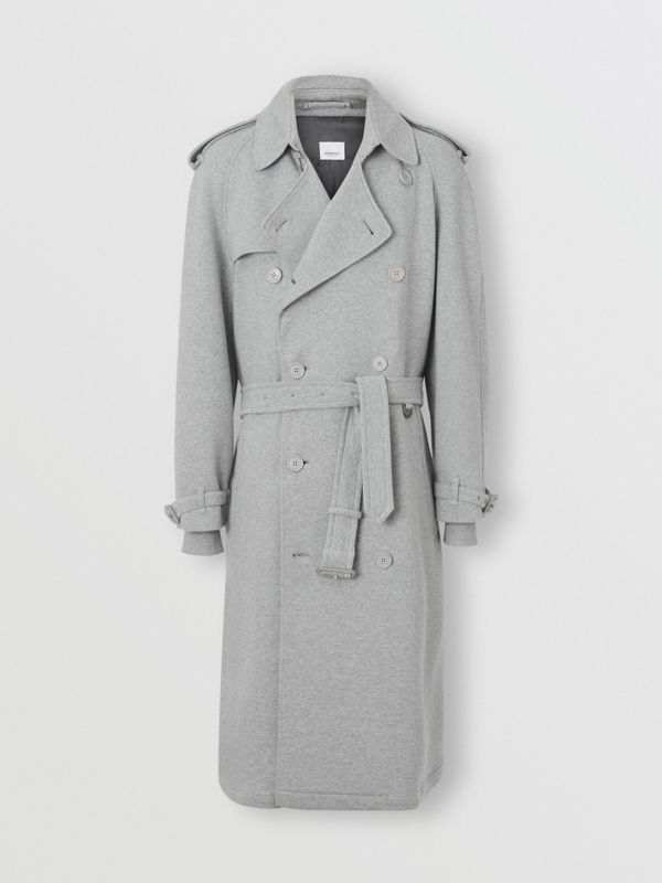 Cotton Jersey Trench Coat in Pale Grey Melange - Men | Burberry Australia - cell image 3