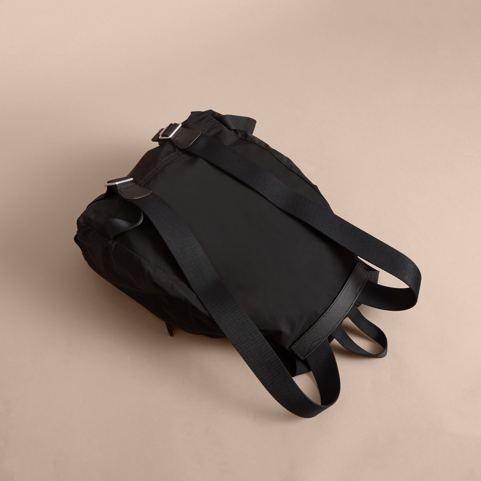 Check Detail Technical Packaway Rucksack Black - gallery image 4