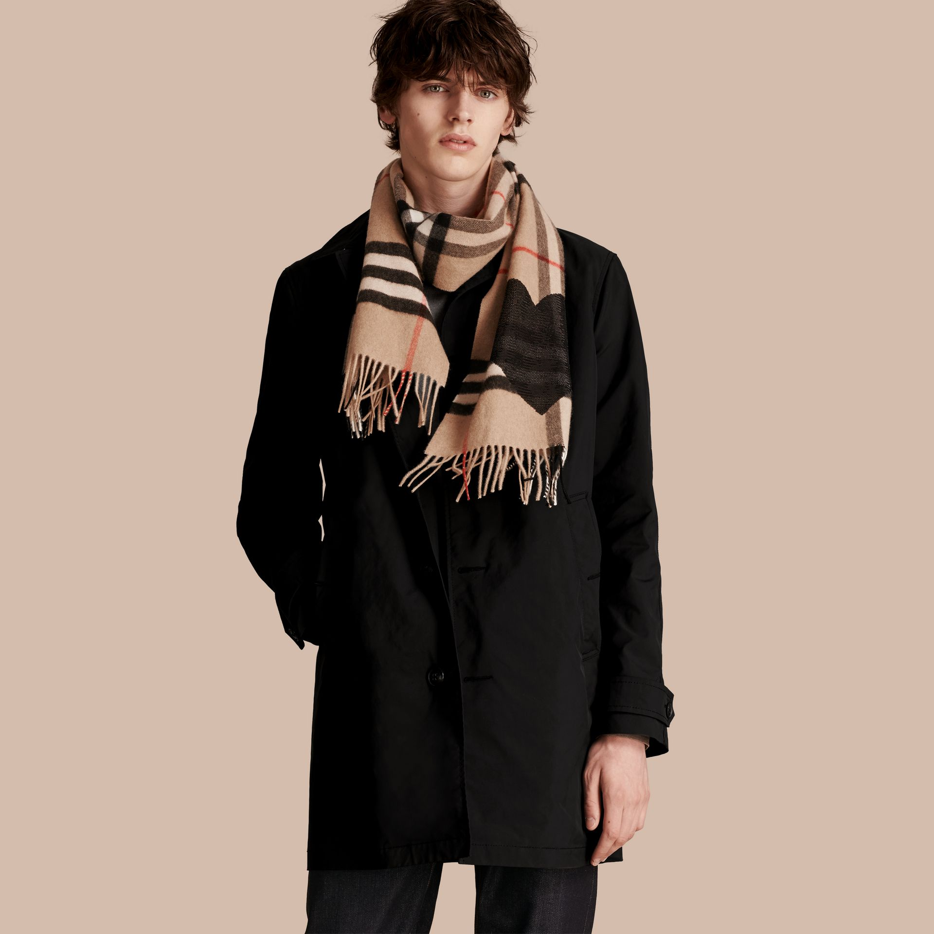 Camel/black The Classic Cashmere Scarf in Check with Sequined Heart Camel/black - gallery image 4
