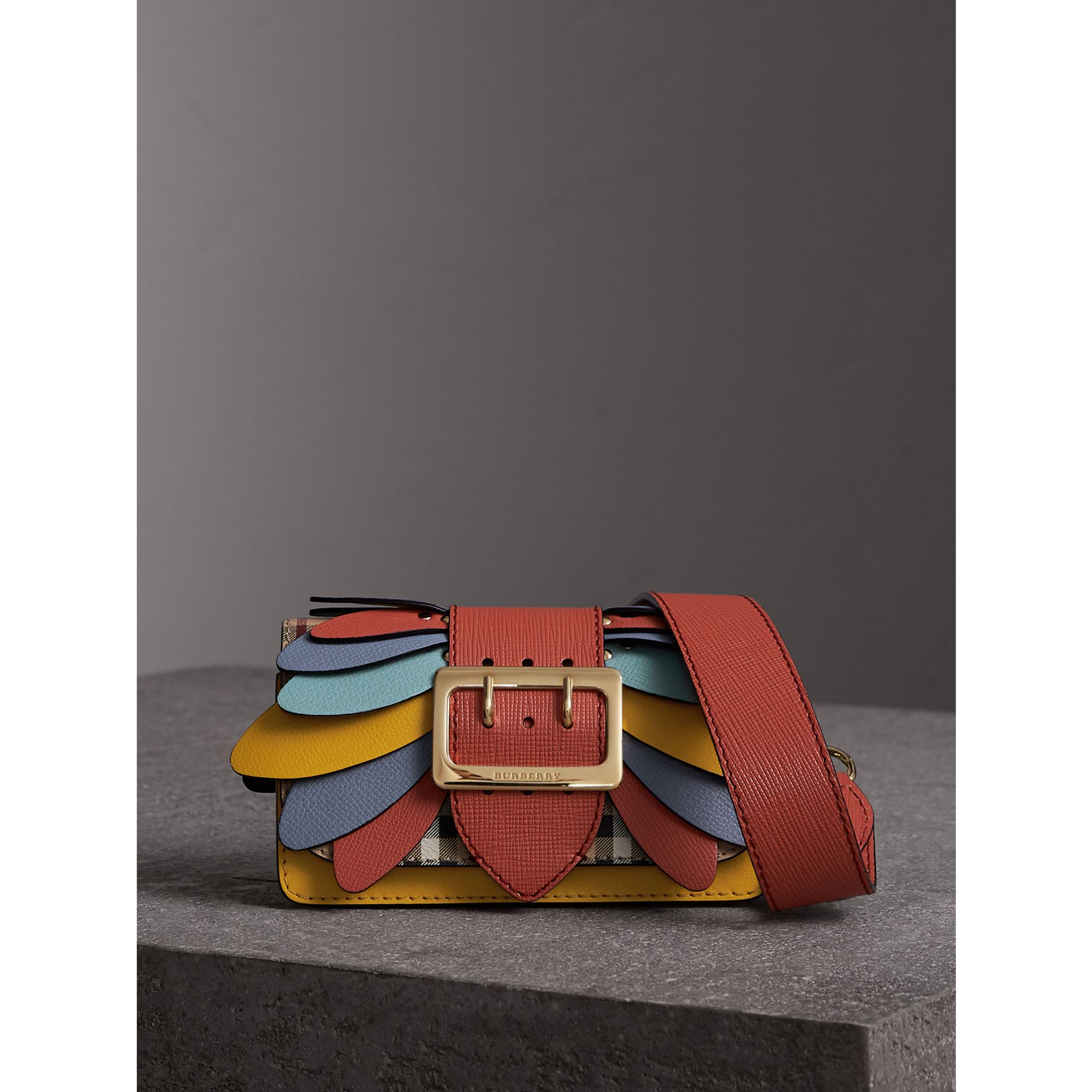 The Small Buckle Bag in Haymarket Check and Leather in Cinnamon Red - Women | Burberry Singapore - gallery image 1