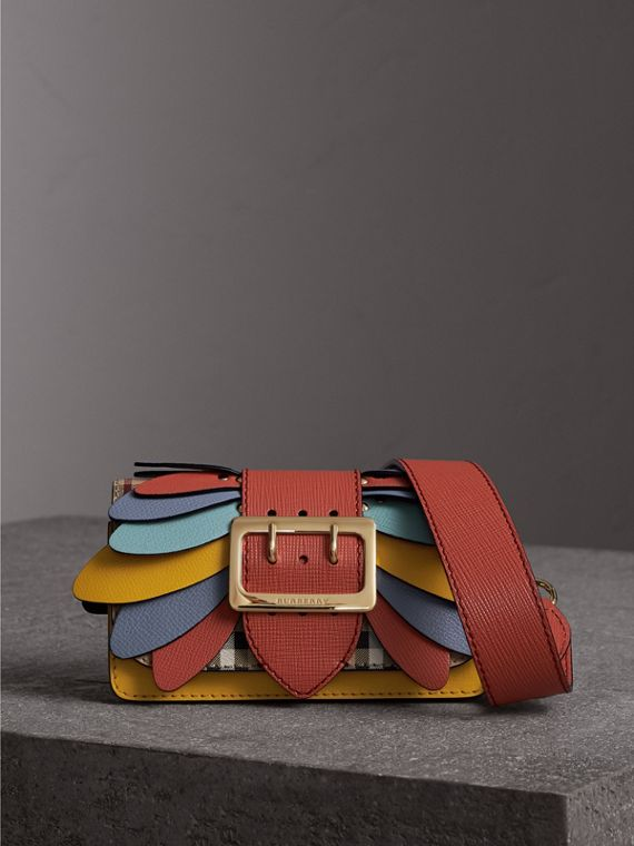 The Small Buckle Bag in Haymarket Check and Leather in Cinnamon Red