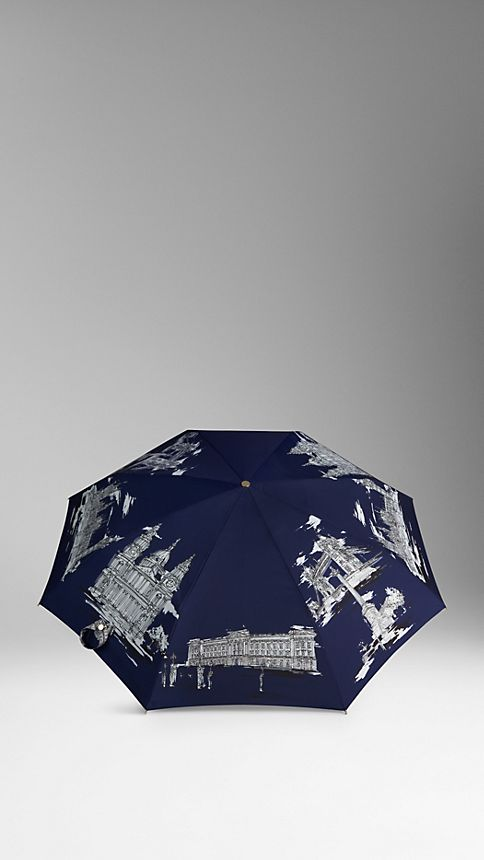 Brilliant navy London Landmarks Folding Umbrella - Image 3