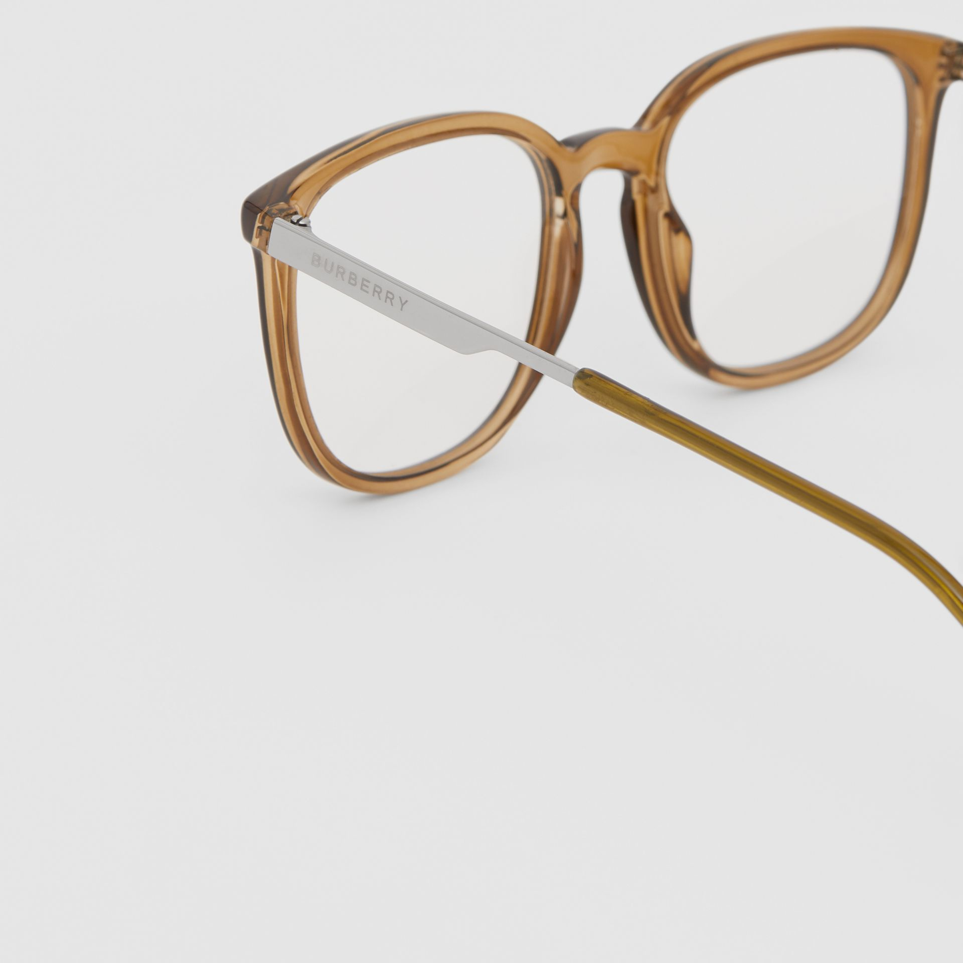 Square Optical Frames in Olive Green | Burberry - gallery image 1