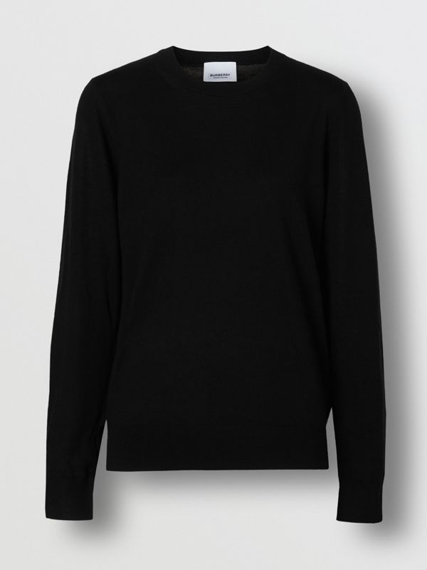 Vintage Check Detail Merino Wool Sweater in Black - Women | Burberry Singapore - cell image 3