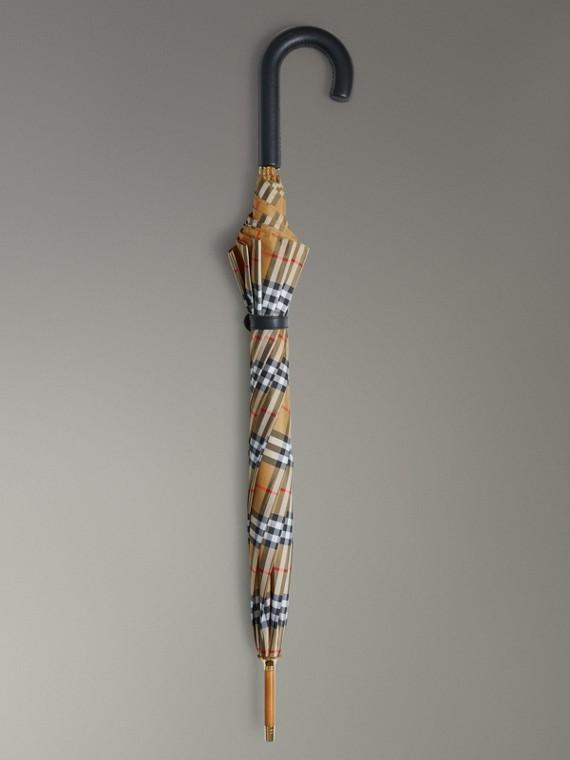 Ombrello da passeggio con motivo Vintage check (Giallo Antico/nero)