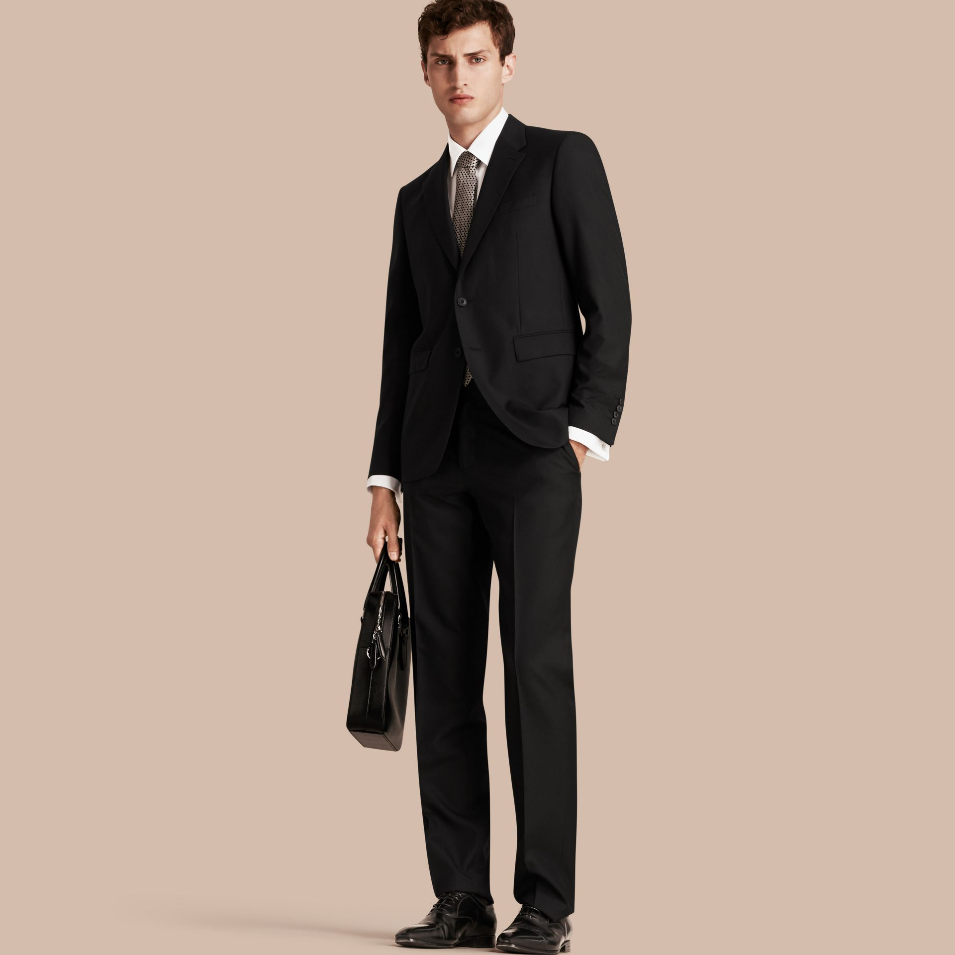 Black Classic Fit Wool Part-canvas Suit Black - gallery image 1