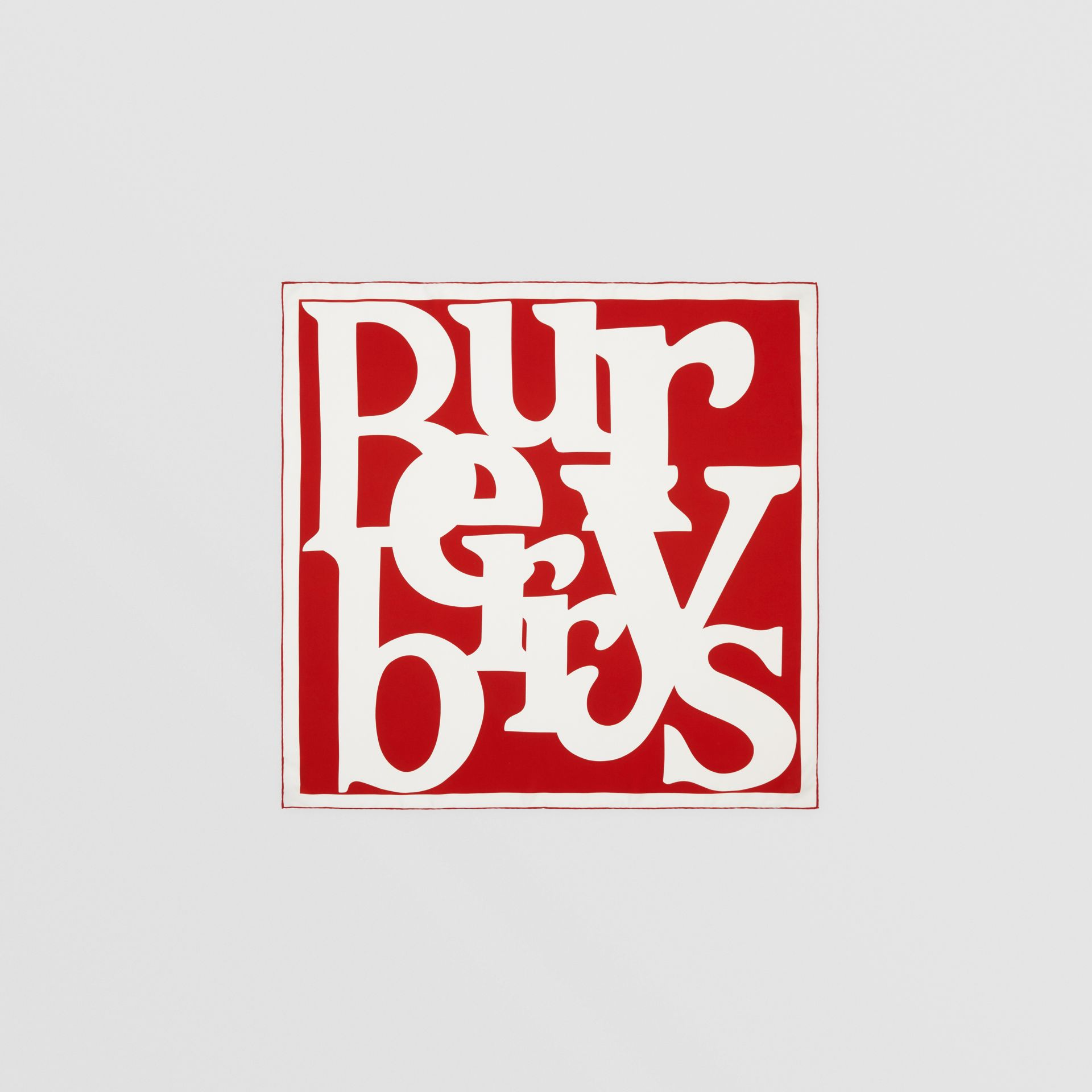 Archive Logo Print Silk Square Scarf in Burgundy/beige | Burberry United Kingdom - gallery image 0