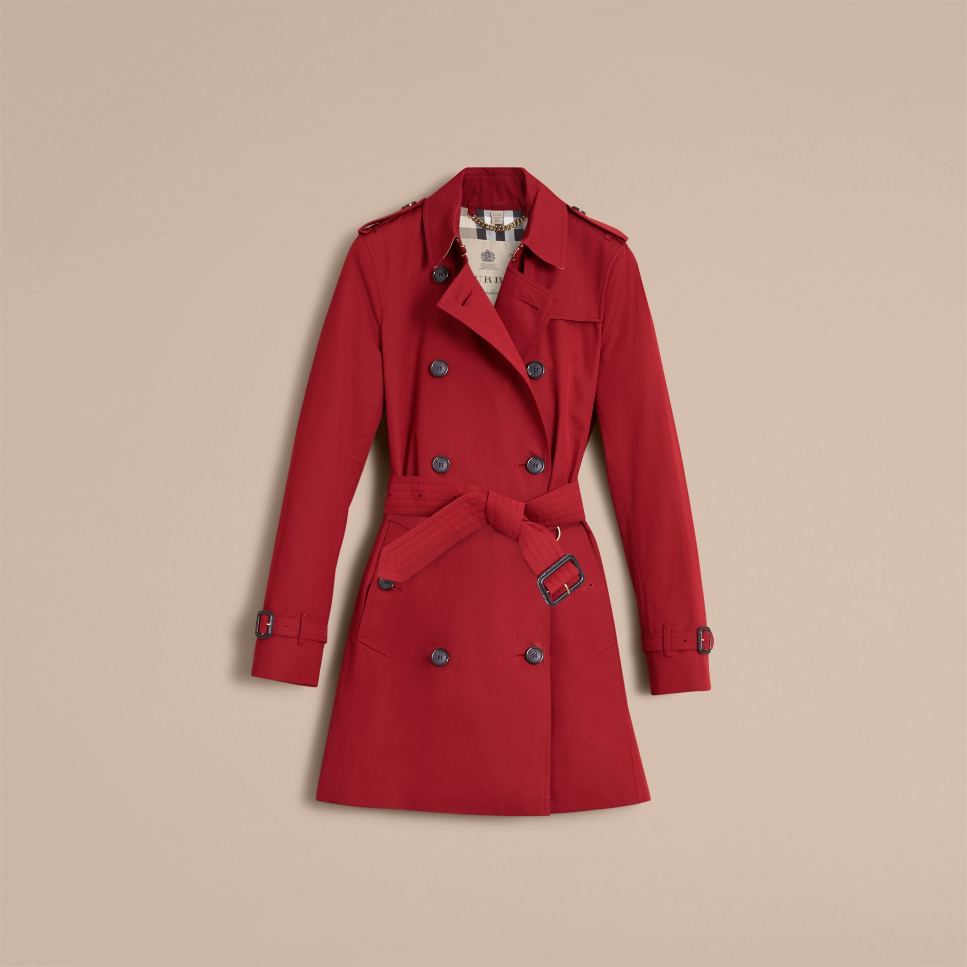 The Kensington – Mid-Length Heritage Trench Coat in Parade Red - gallery image 4