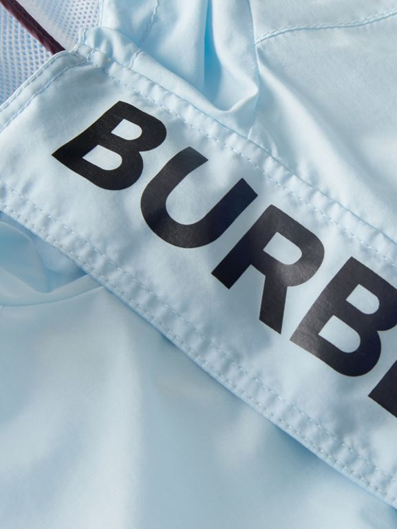 Logo Print Lightweight Hooded Jacket in Light Blue | Burberry - cell image 1