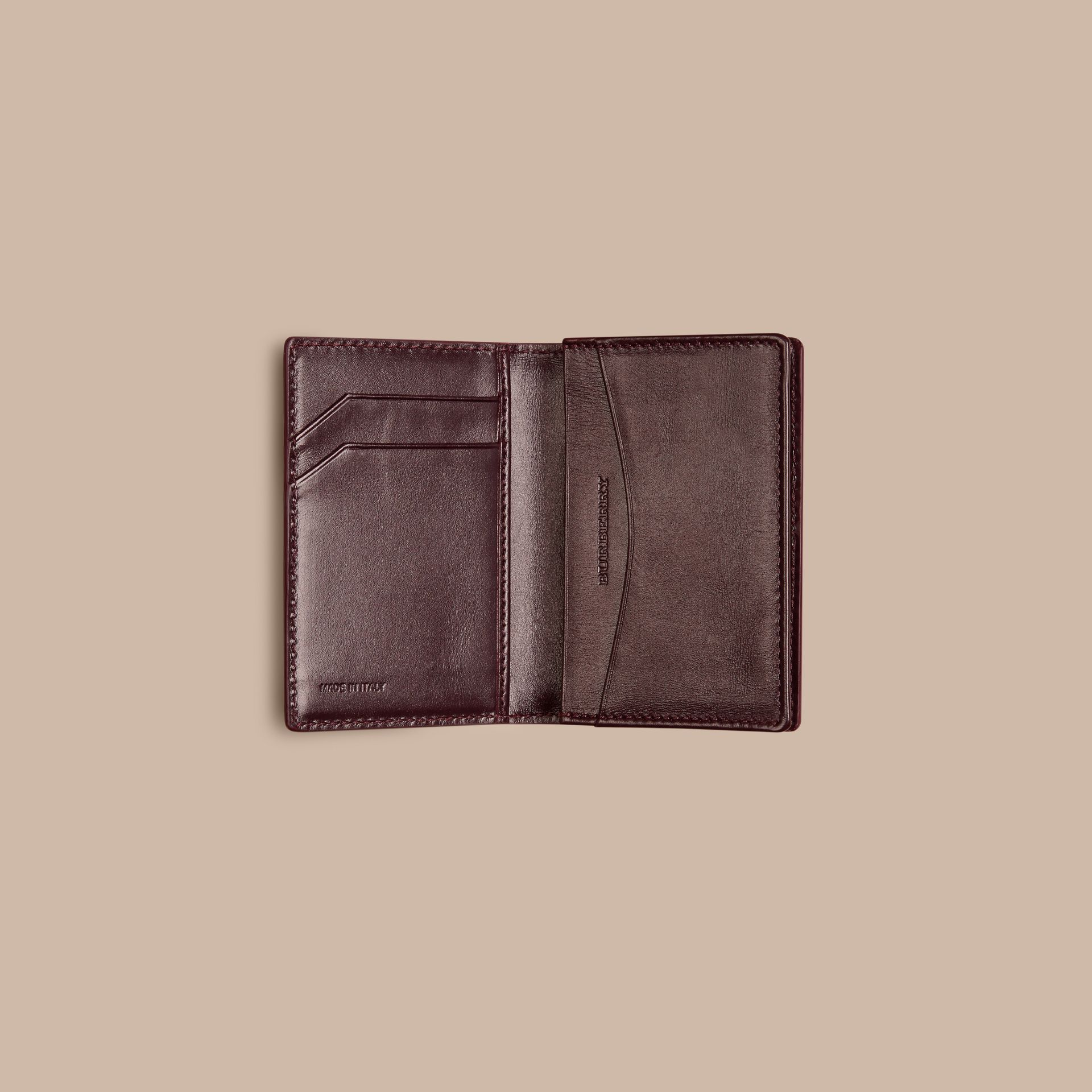 Wine London Leather Folding Card Case - gallery image 4