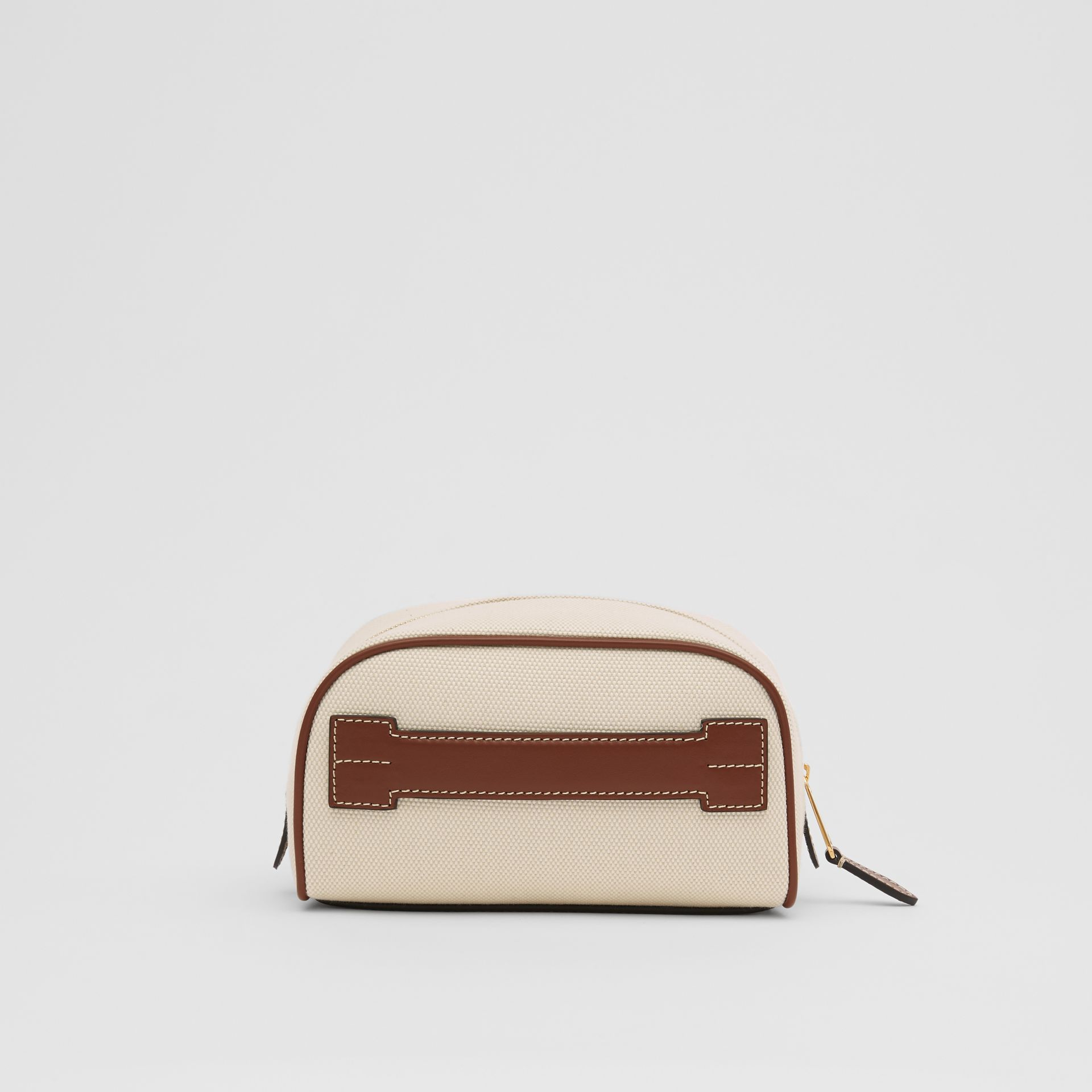 Small Logo Graphic Cotton Canvas Travel Pouch in White/tan - Women | Burberry United Kingdom - gallery image 7