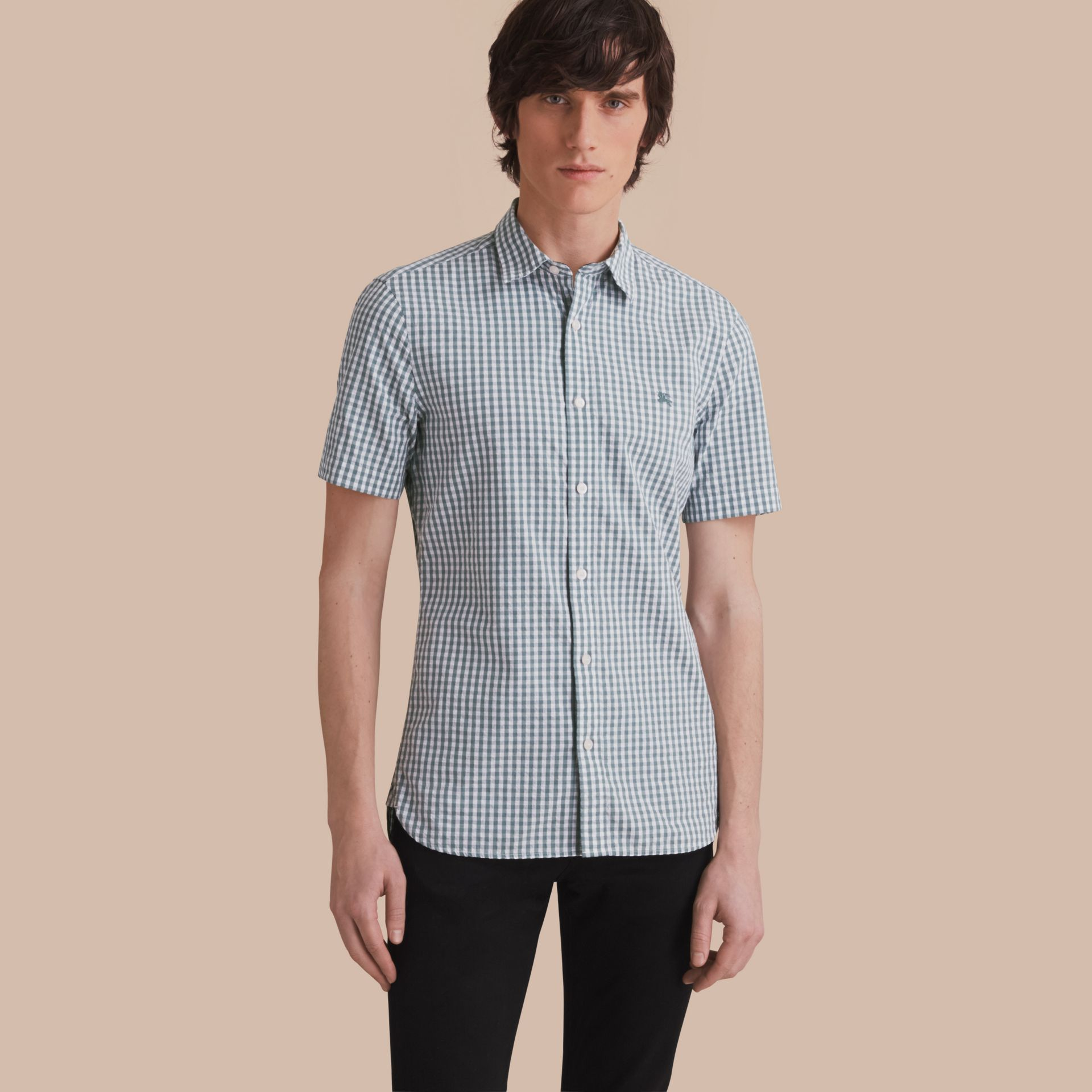 Short-sleeved Gingham Cotton Poplin Shirt in Dusty Teal Blue - Men | Burberry - gallery image 1