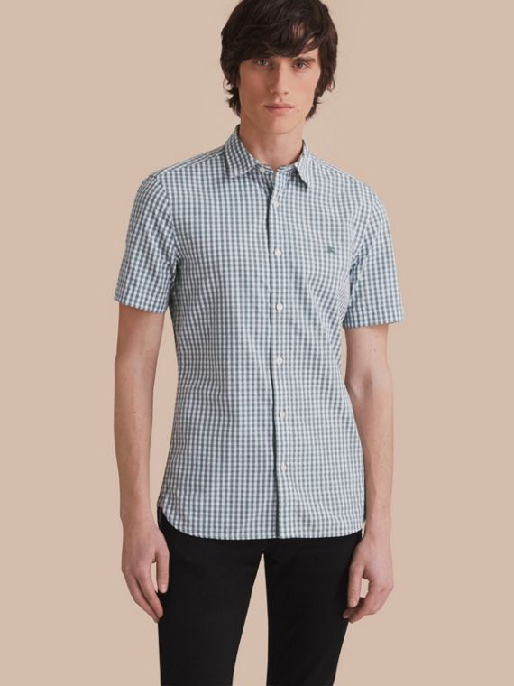 Short-sleeved Gingham Cotton Poplin Shirt in Dusty Teal Blue