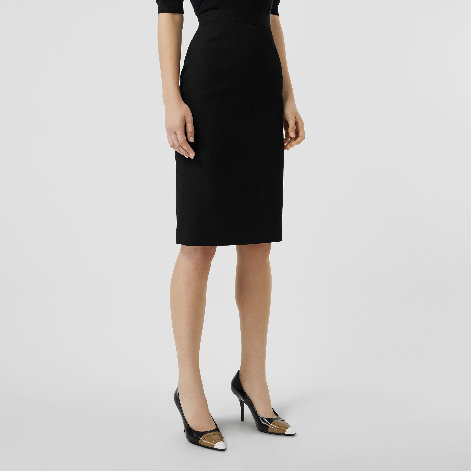 Wool High-waisted Pencil Skirt in Black - Women | Burberry United Kingdom - gallery image 4