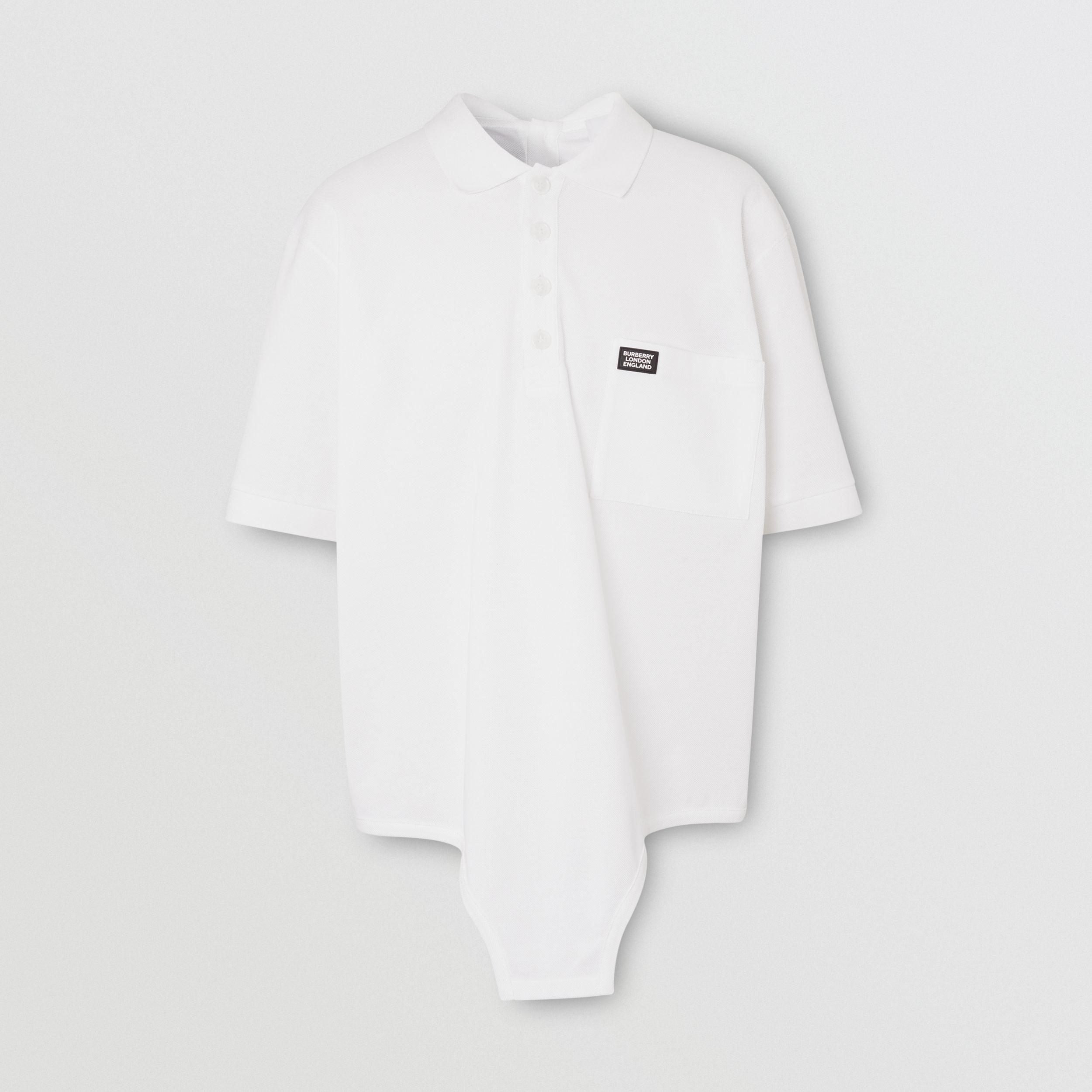 Cut-out Hem Cotton Reconstructed Polo Shirt in Optic White - Men | Burberry Hong Kong S.A.R. - 4