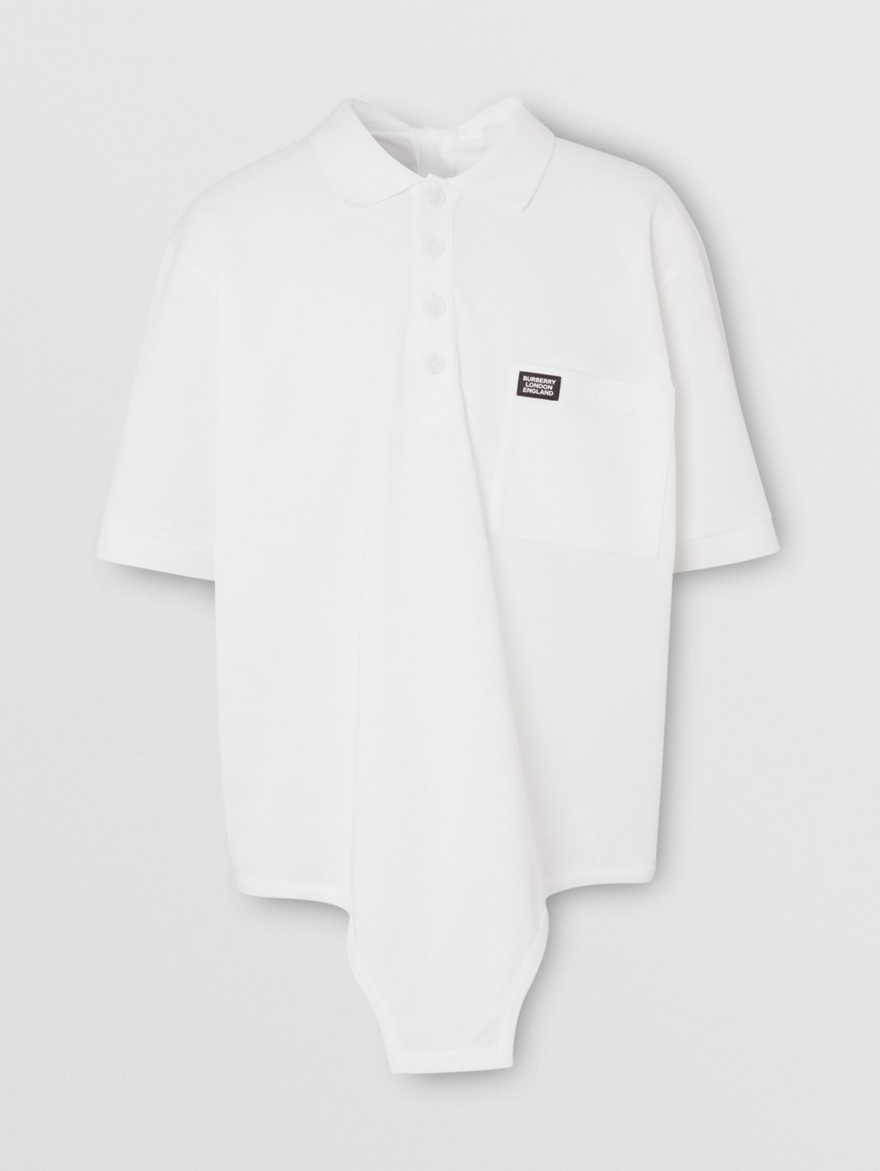 Cut-out Hem Cotton Reconstructed Polo Shirt (Optic White)
