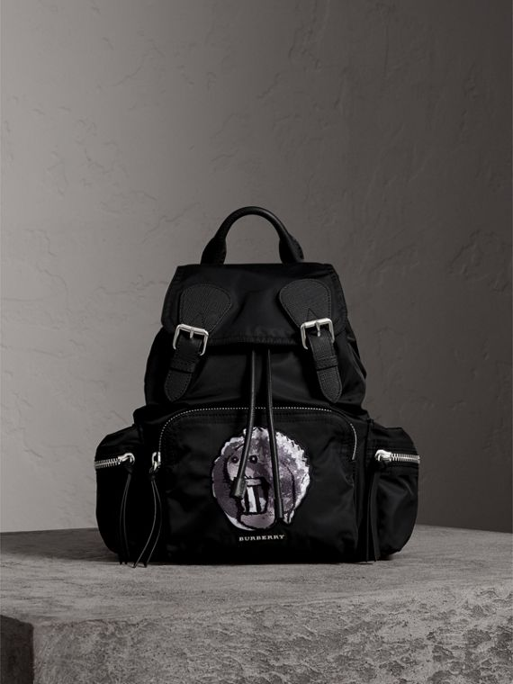 The Medium Rucksack in Technical Nylon with Pallas Heads Appliqué in Black/white