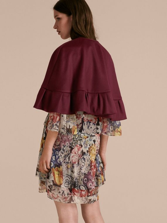 Ruffle Hem Cashmere Cape in Burgundy - cell image 2