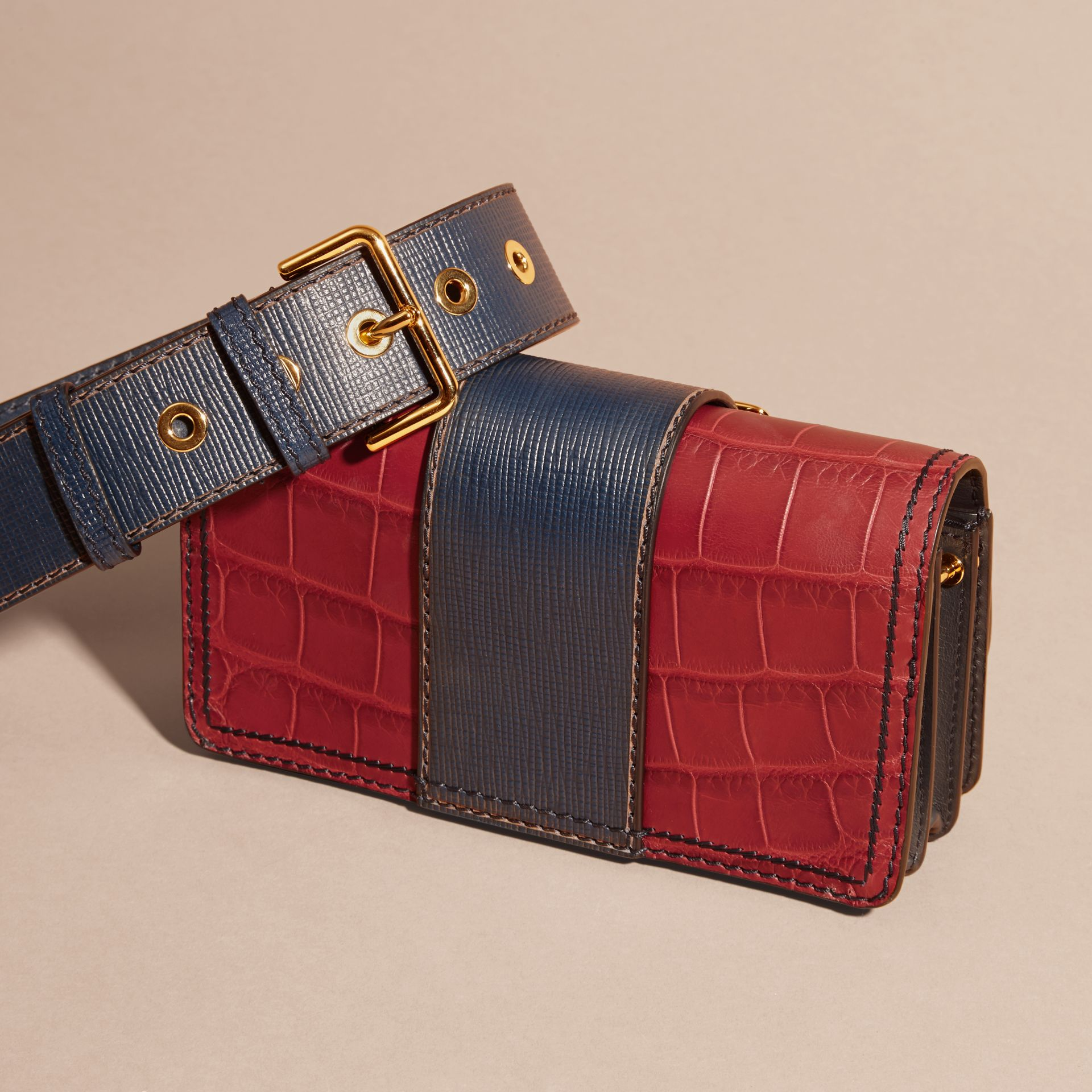The Small Buckle Bag in Alligator and Leather Garnet Red/sapphire - gallery image 5