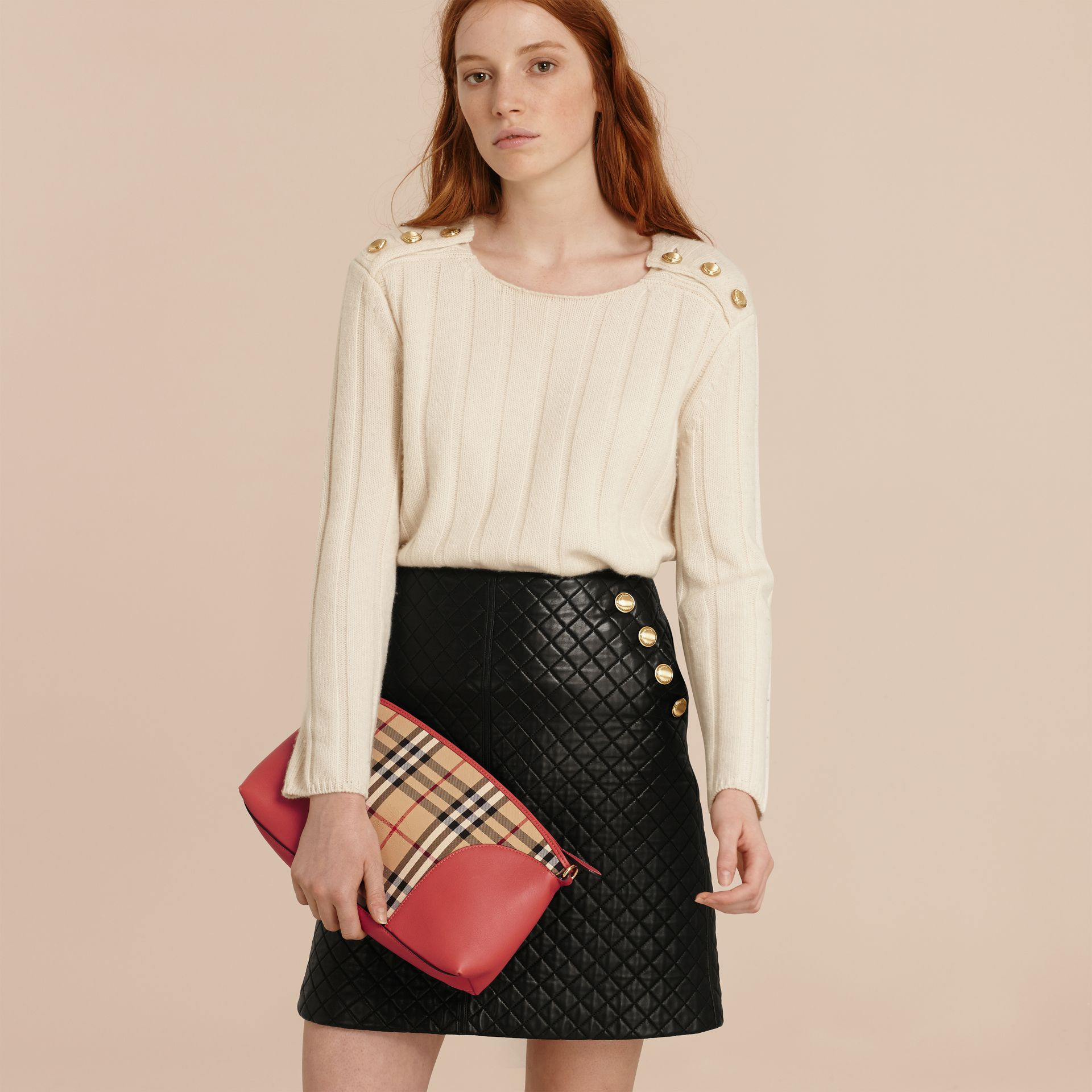 Horseferry Check and Leather Clutch Bag in Honey/antique Rose - gallery image 3