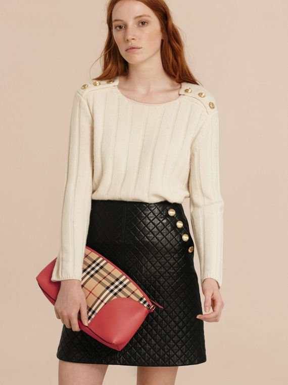 Horseferry Check and Leather Clutch Bag in Honey/antique Rose - cell image 2