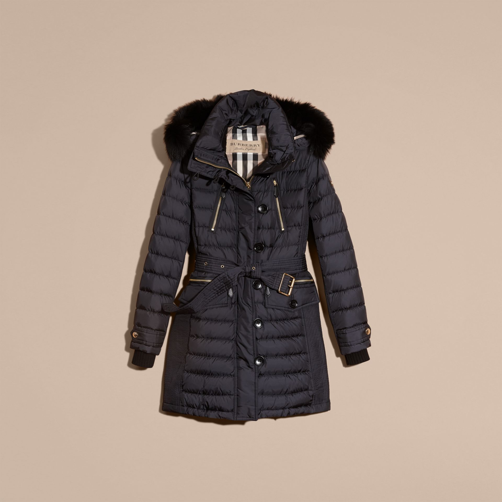 Navy Down-filled Parka with Detachable Fox Fur Trim Navy - gallery image 4