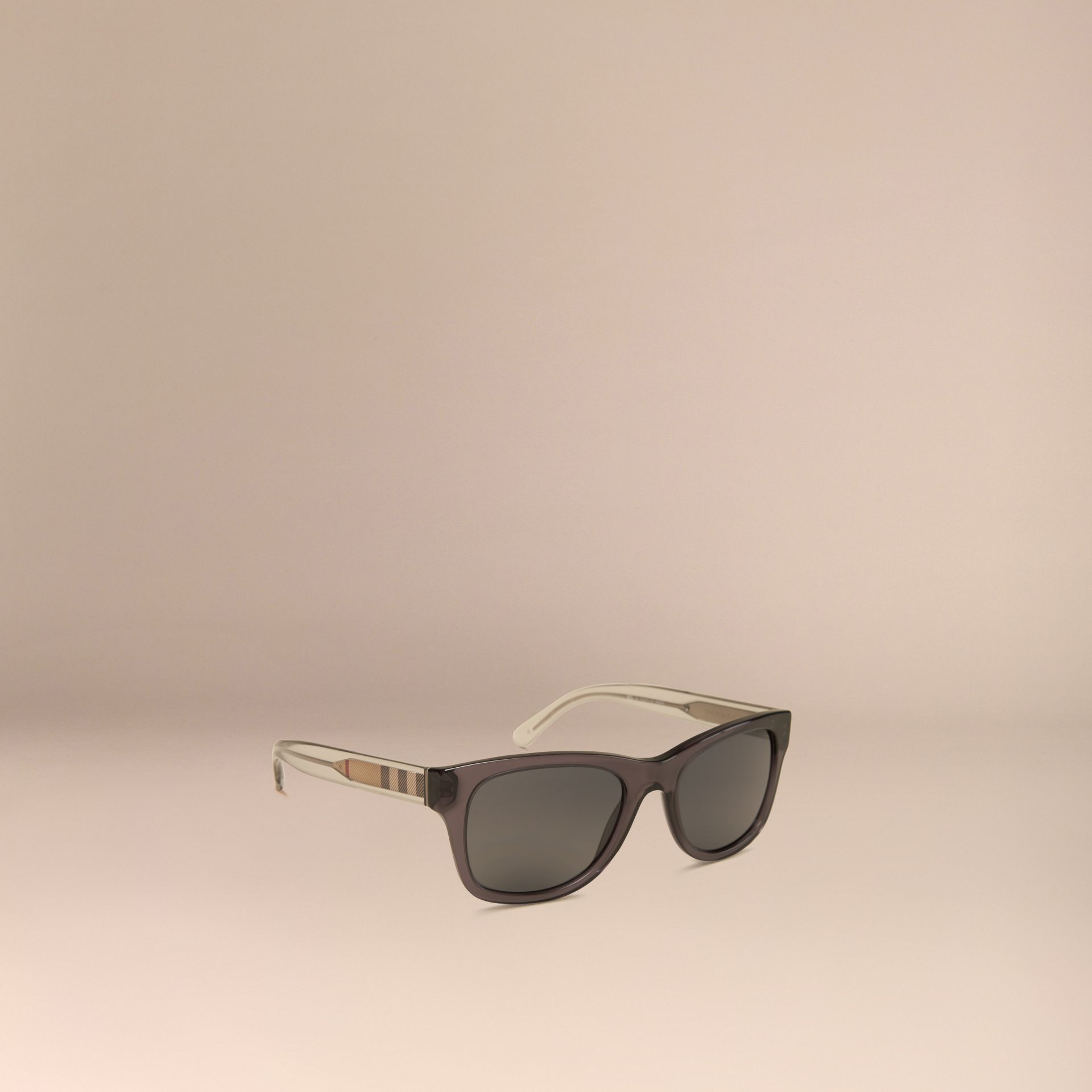 Dark grey Check Detail Square Frame Sunglasses Dark Grey - gallery image 1
