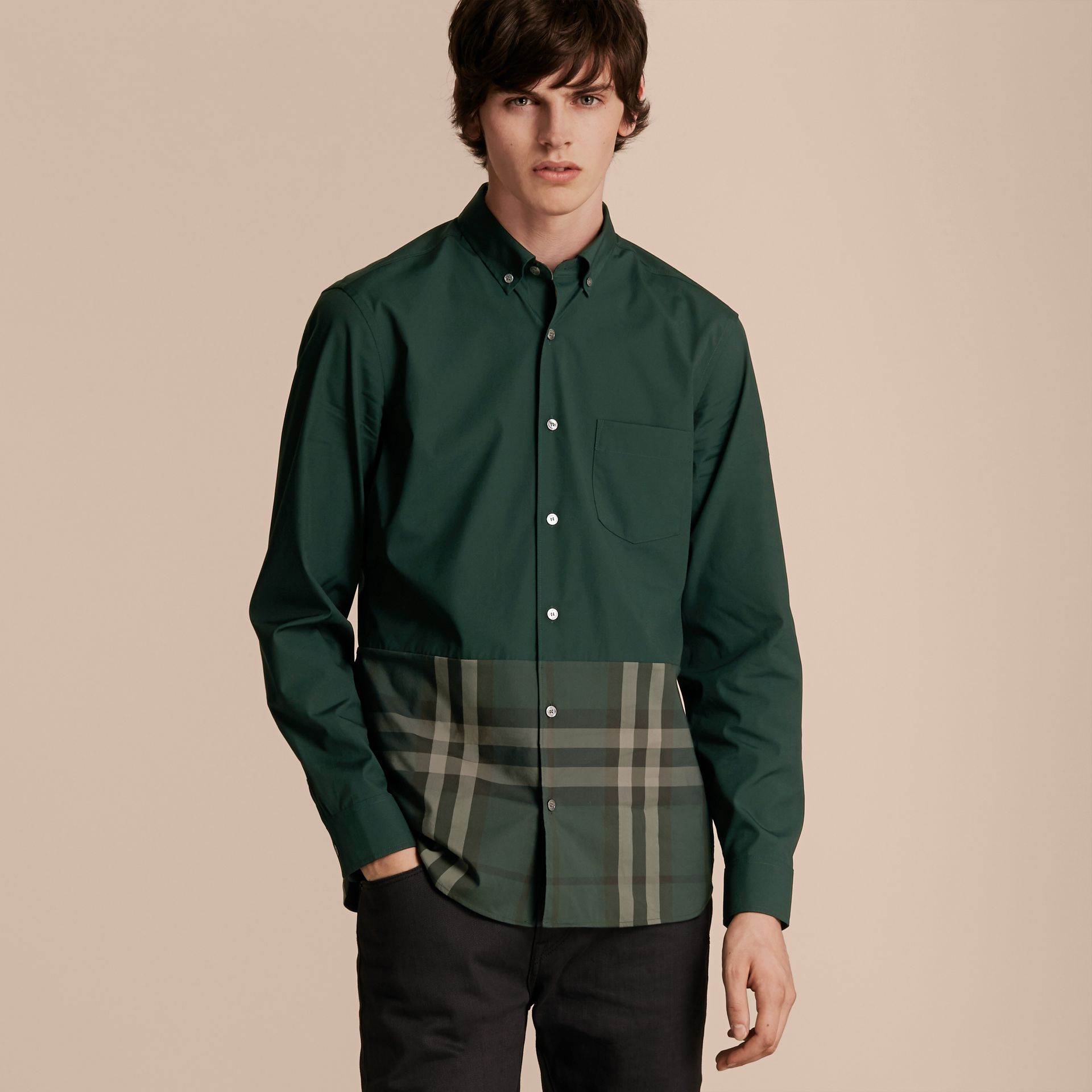 Racing green Check Panel Stretch-Cotton Poplin Shirt Racing Green - gallery image 6