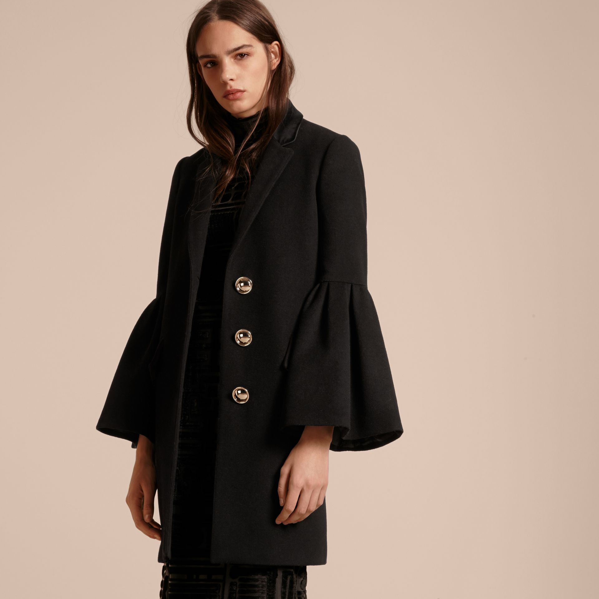 Black Tailored Wool Cashmere Coat with Bell Sleeves Black - gallery image 7