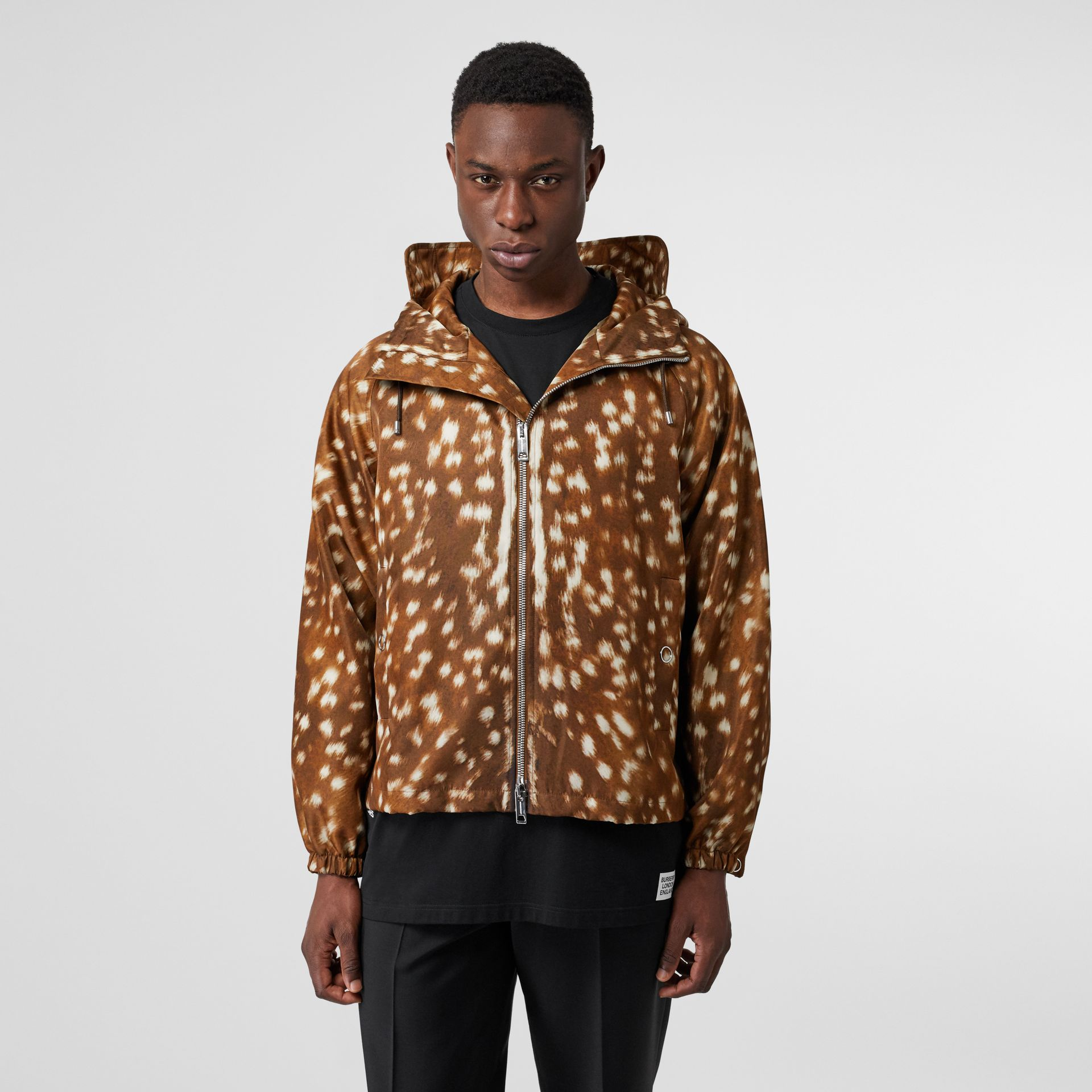 Deer Print Nylon Hooded Jacket in Honey - Men | Burberry Australia - gallery image 5