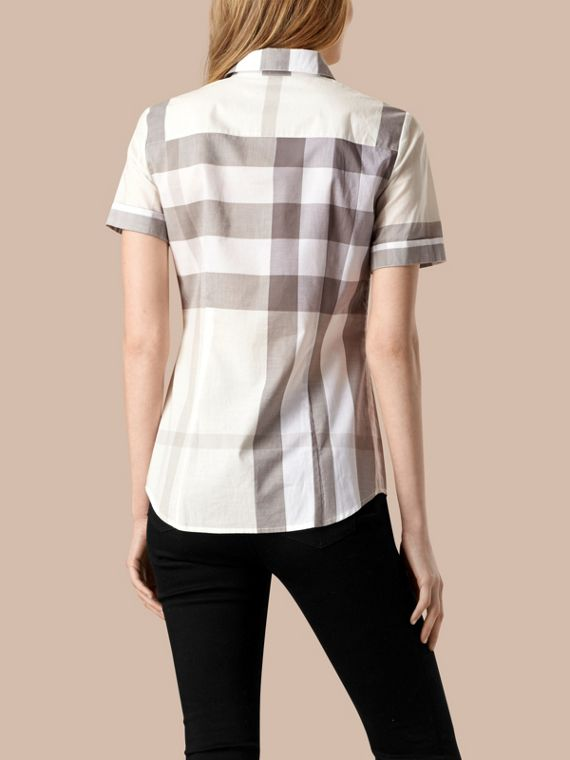 Natural Short-sleeved Check Cotton Shirt Natural - cell image 2