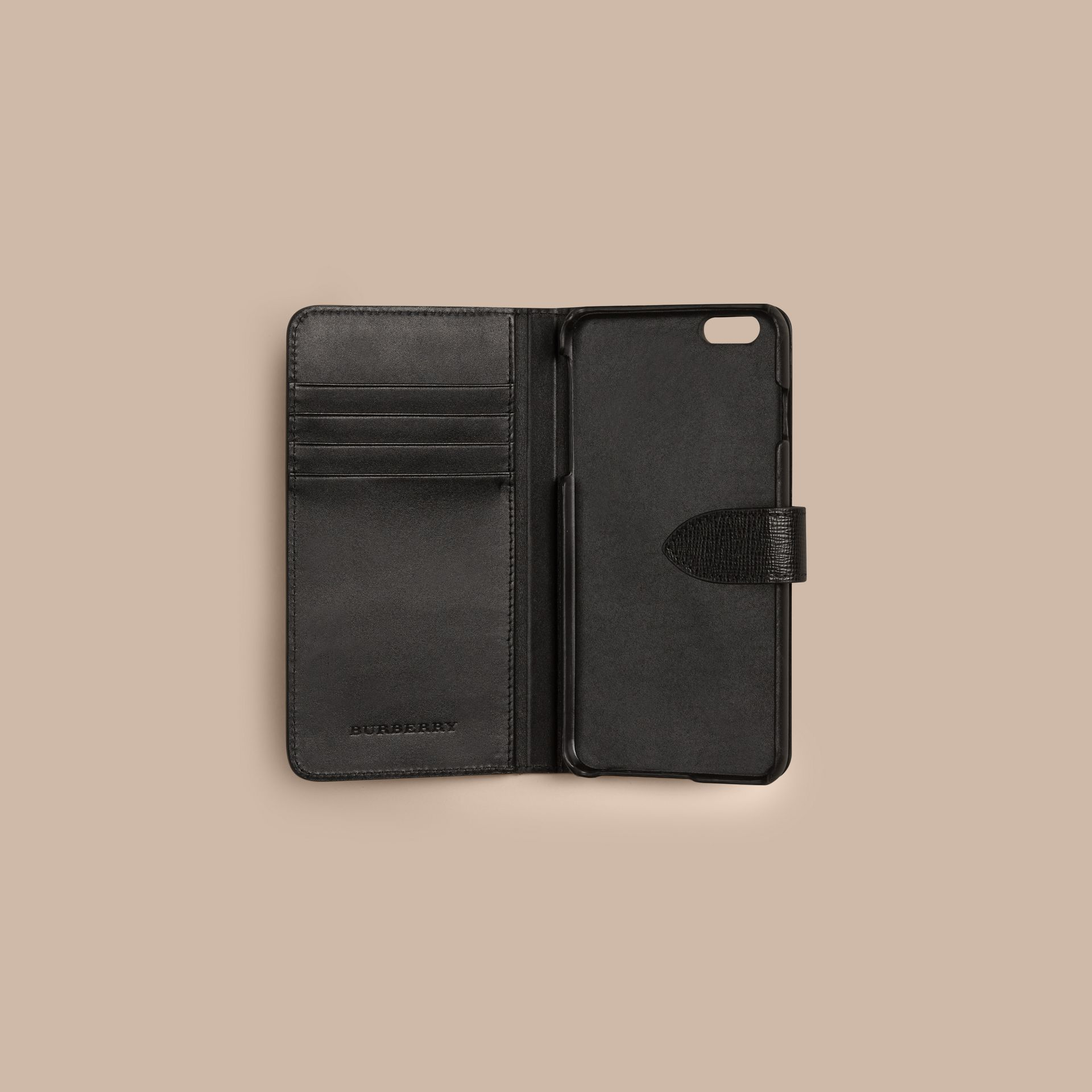 Black London Leather iPhone 6 Plus Flip Case Black - gallery image 2