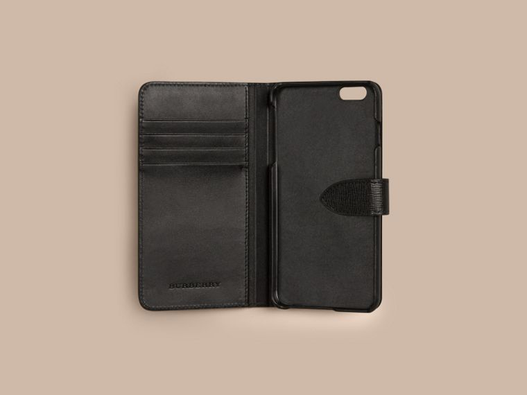 Black London Leather iPhone 6 Plus Flip Case Black - cell image 1