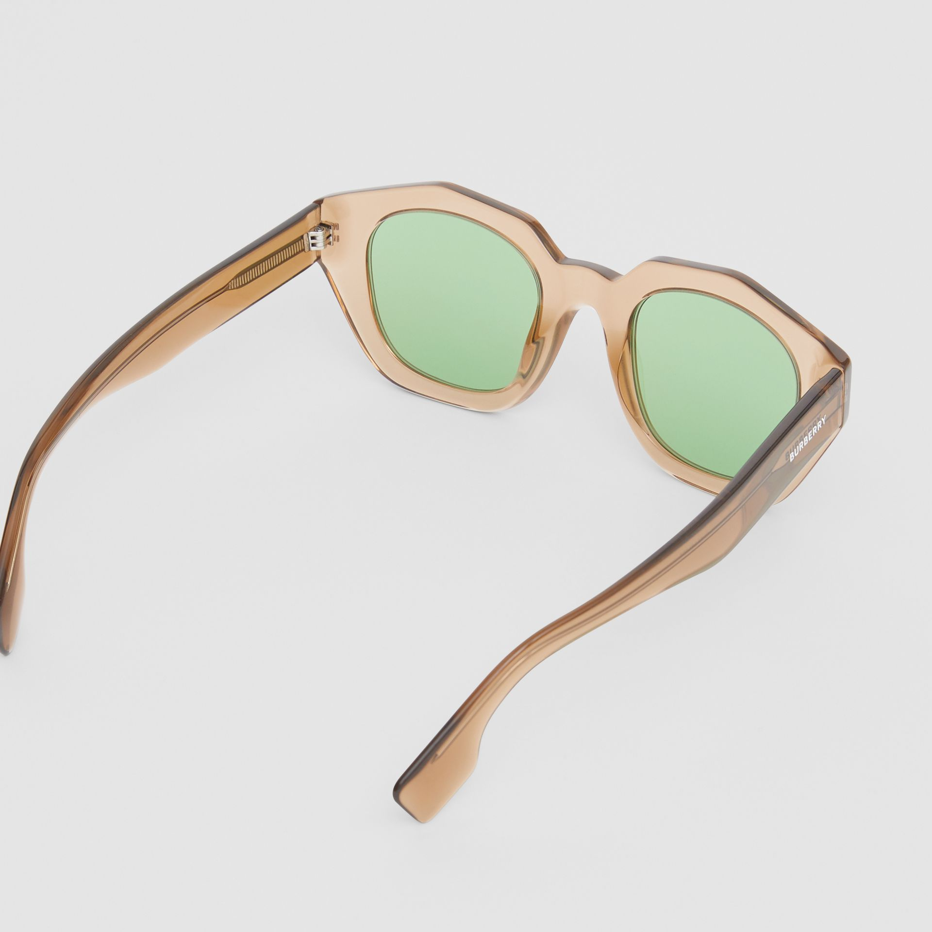 Geometric Frame Sunglasses in Brown - Women | Burberry - gallery image 3