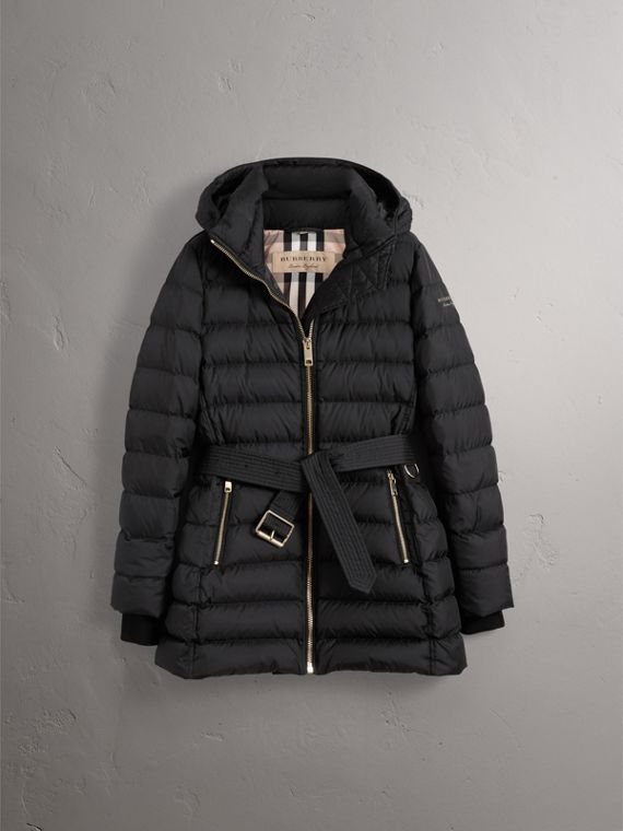 Hooded Down-filled Puffer Jacket in Black - Women | Burberry - cell image 3