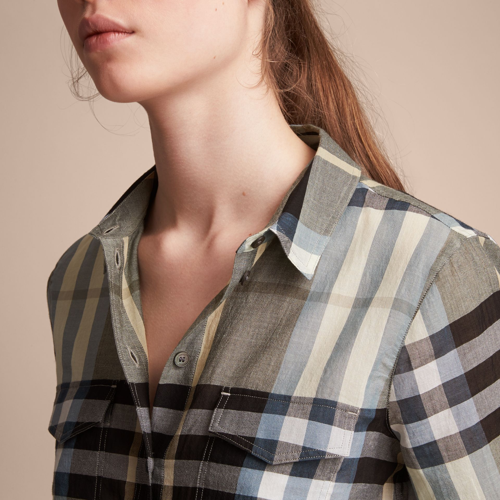 Check Cotton Shirt in Stone Green - Women | Burberry - gallery image 5
