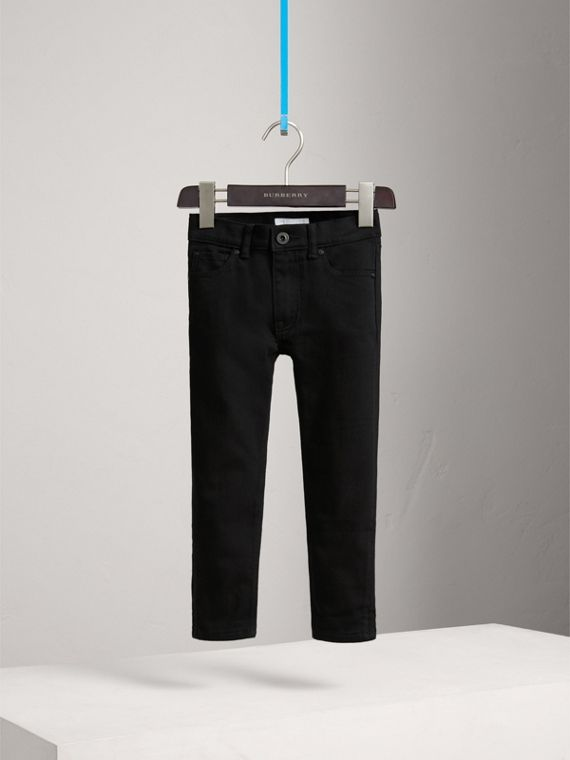 Skinny Fit Stretch Denim Jeans in Black - Boy | Burberry - cell image 2