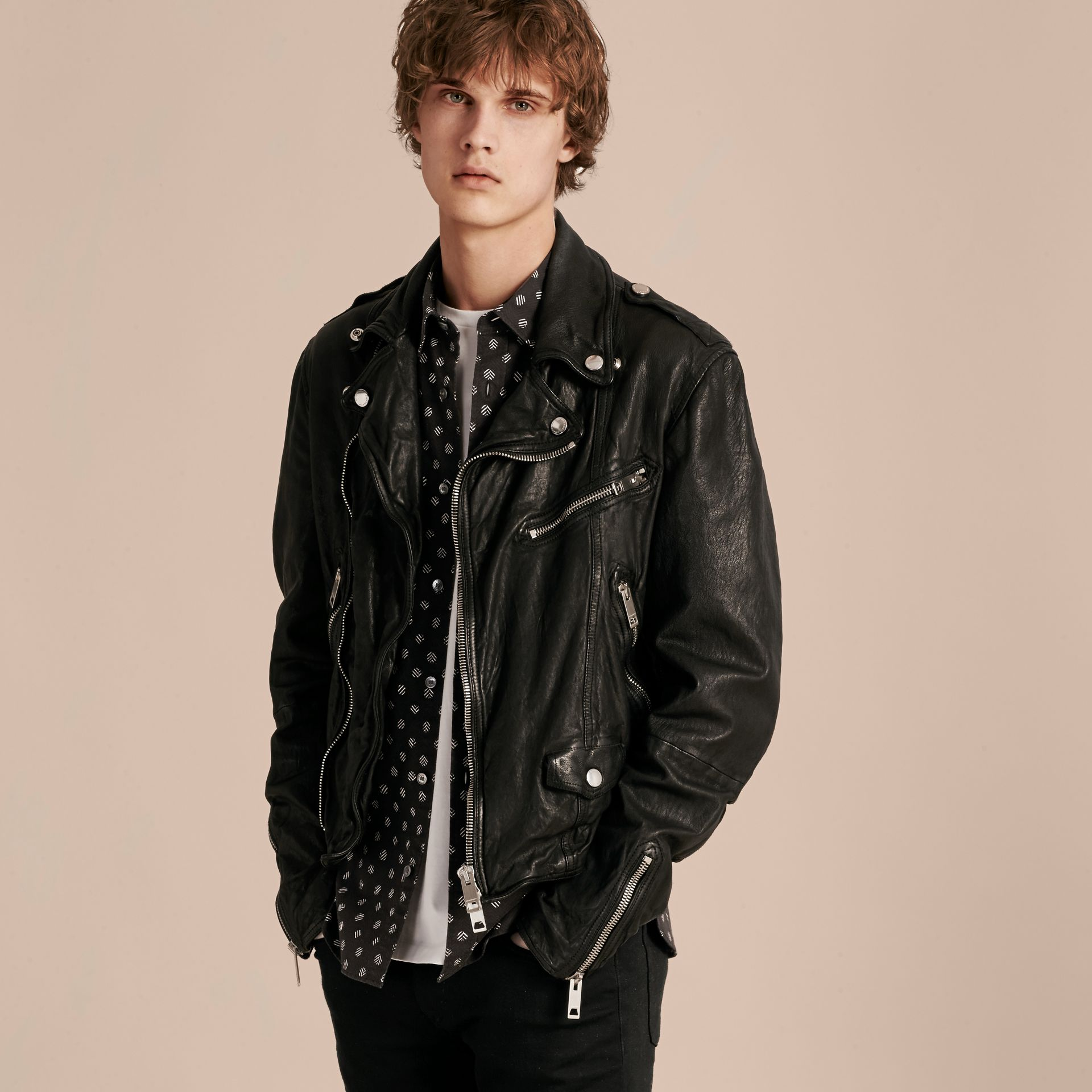 Black Washed Lambskin Biker Jacket - gallery image 7