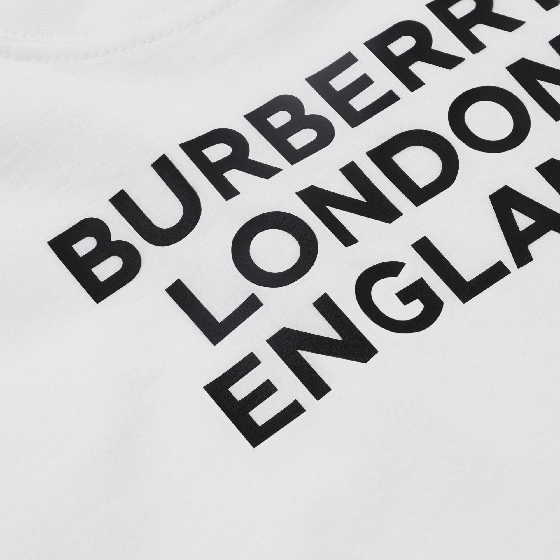 Logo Print Cotton T-shirt in White - Children | Burberry United Kingdom - gallery image 1