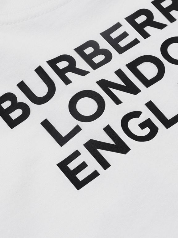 Logo Print Cotton T-shirt in White - Children | Burberry United Kingdom - cell image 1