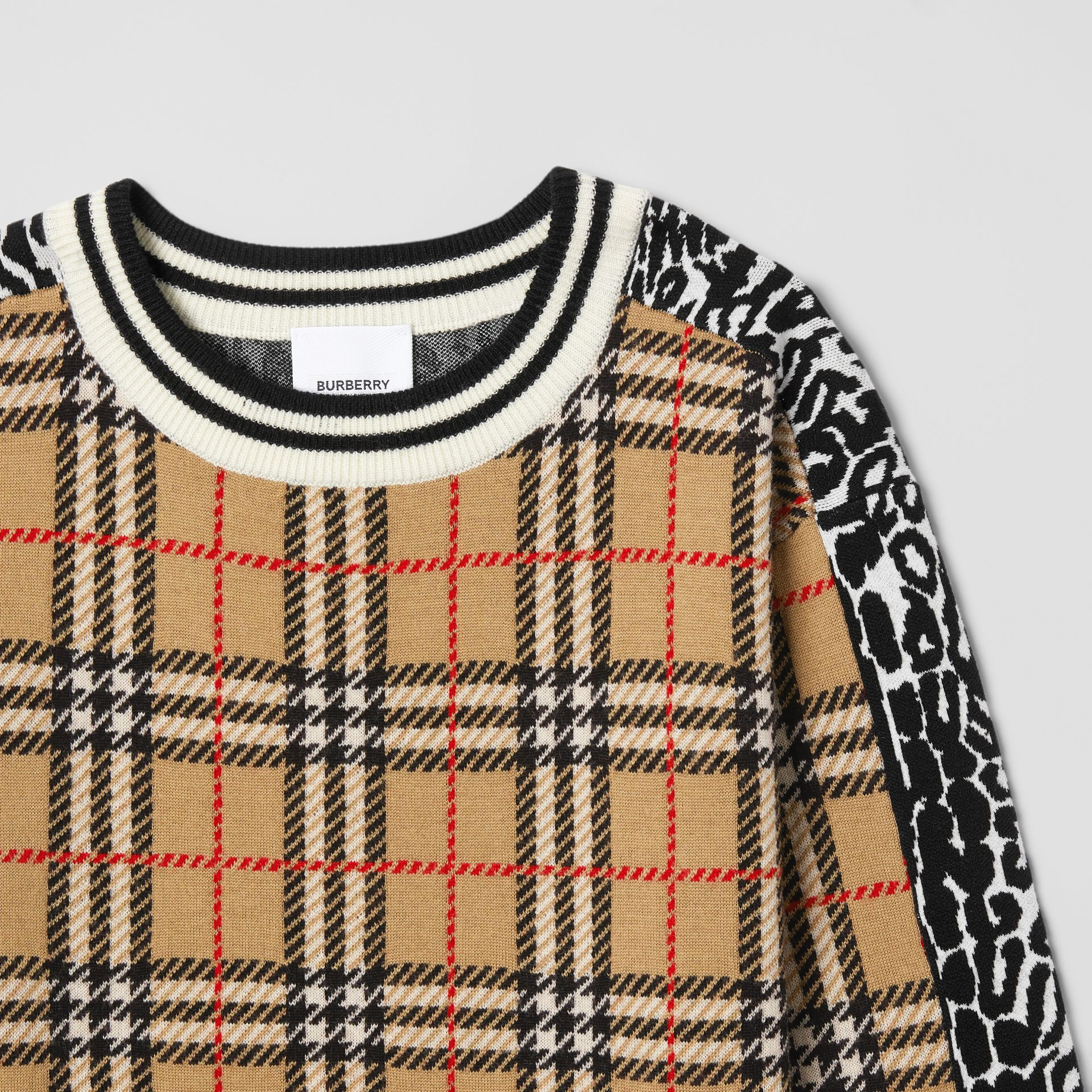 Check and Leopard Merino Wool Sweater Dress in Print | Burberry United Kingdom - gallery image 4