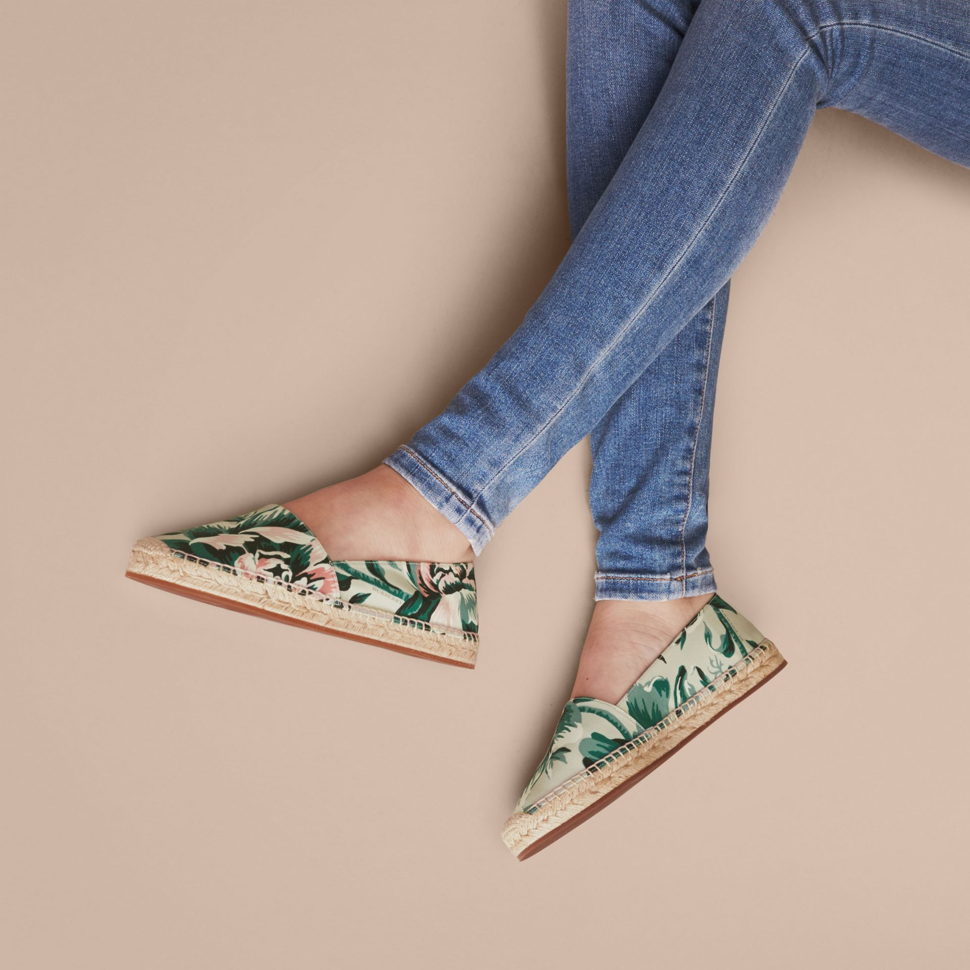 Peony Rose Print Canvas Espadrilles Emerald Green - gallery image 3