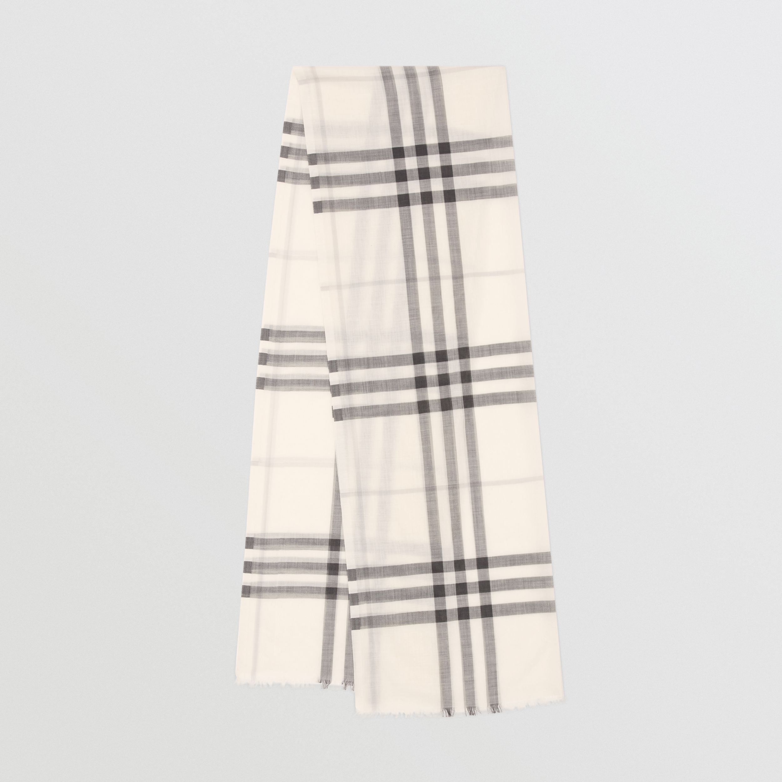 Lightweight Check Wool Silk Scarf in White/light Grey | Burberry - 1