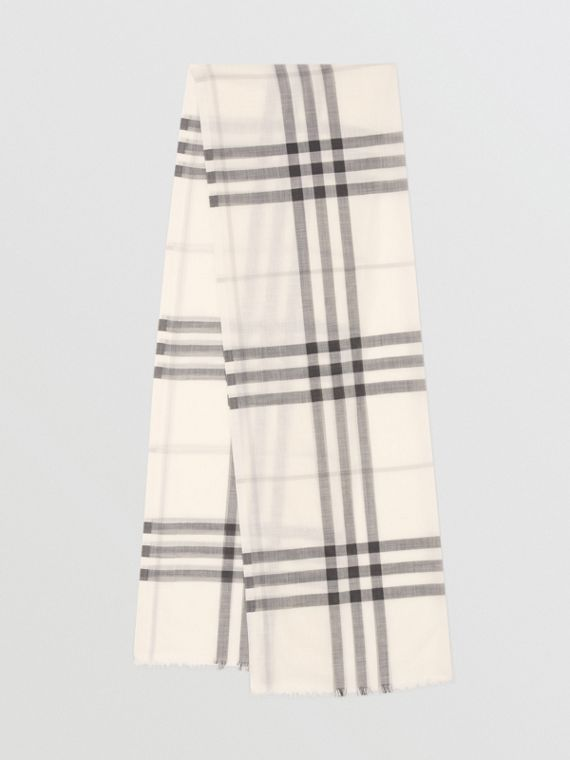 Lightweight Check Wool Silk Scarf in White/light Grey